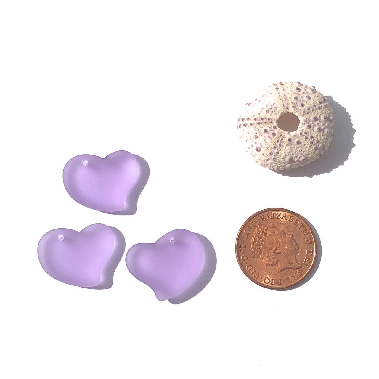 Sea Glass Heart - Periwinkle (Purple)