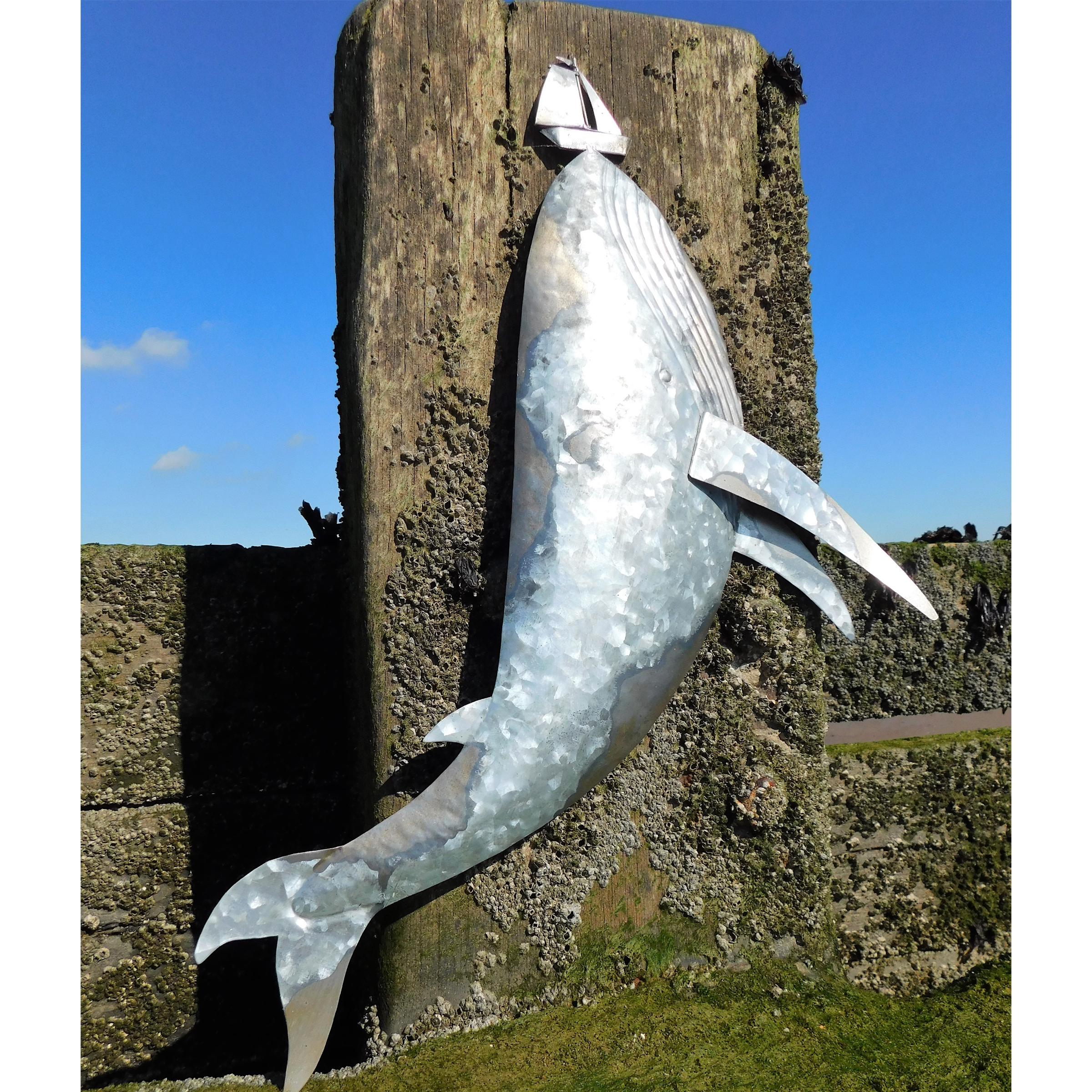 Tin Whale with Yacht 50cm SALE (£26.95)