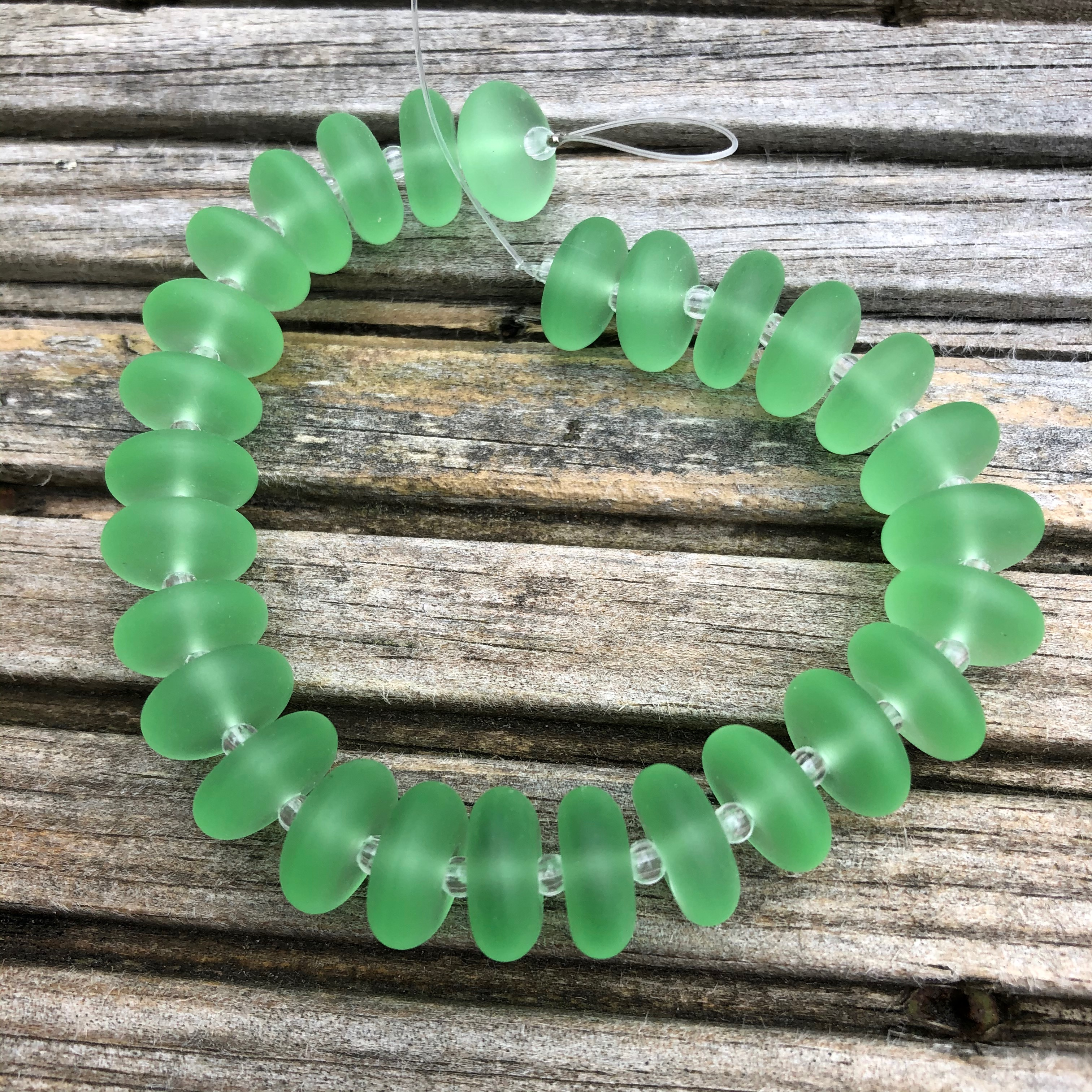 Sea Glass Rondelles - 07 Spring Green