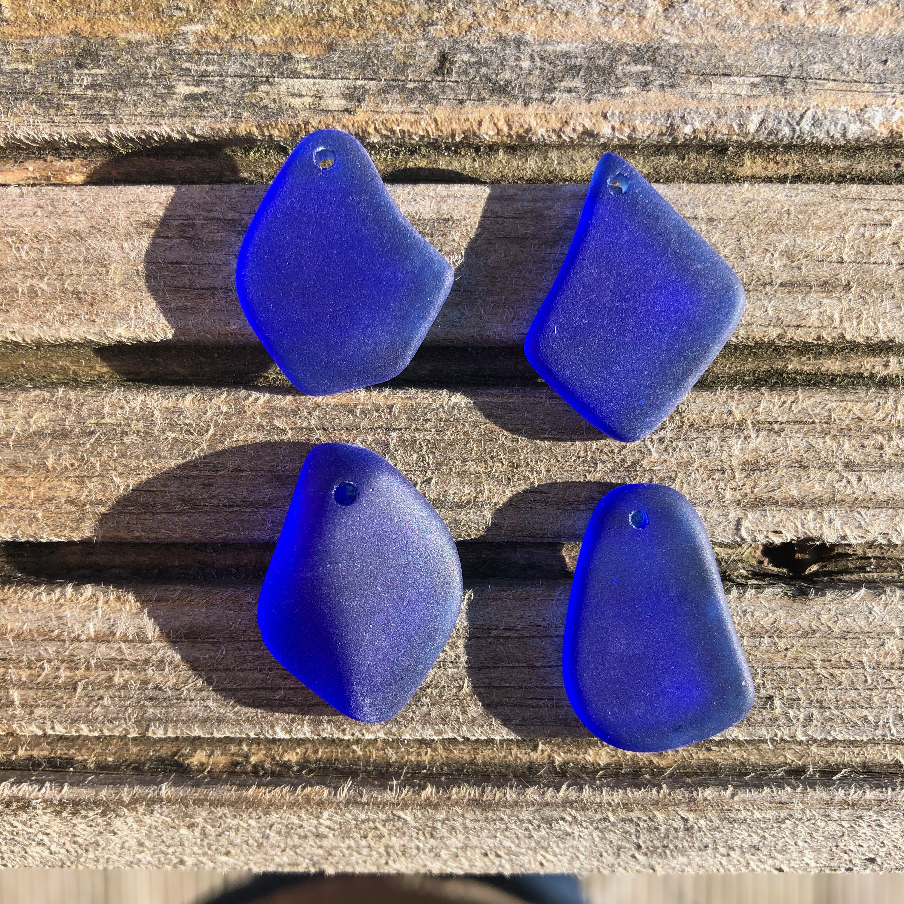 Cultured Sea Glass Freeform Pendants 15 Royal Blue