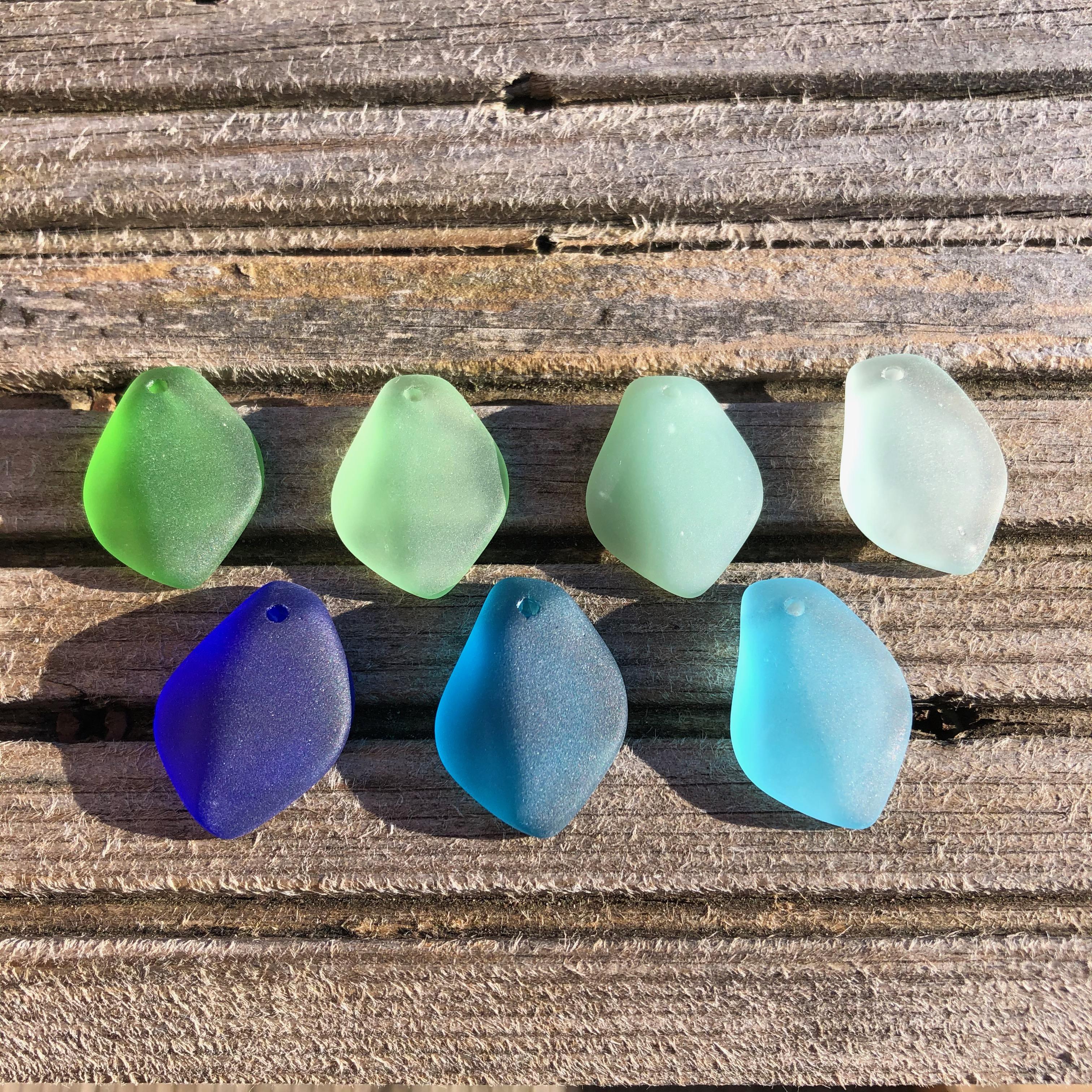 Cultured Sea Glass Freeform Pendants 03a Opaque Seafoam