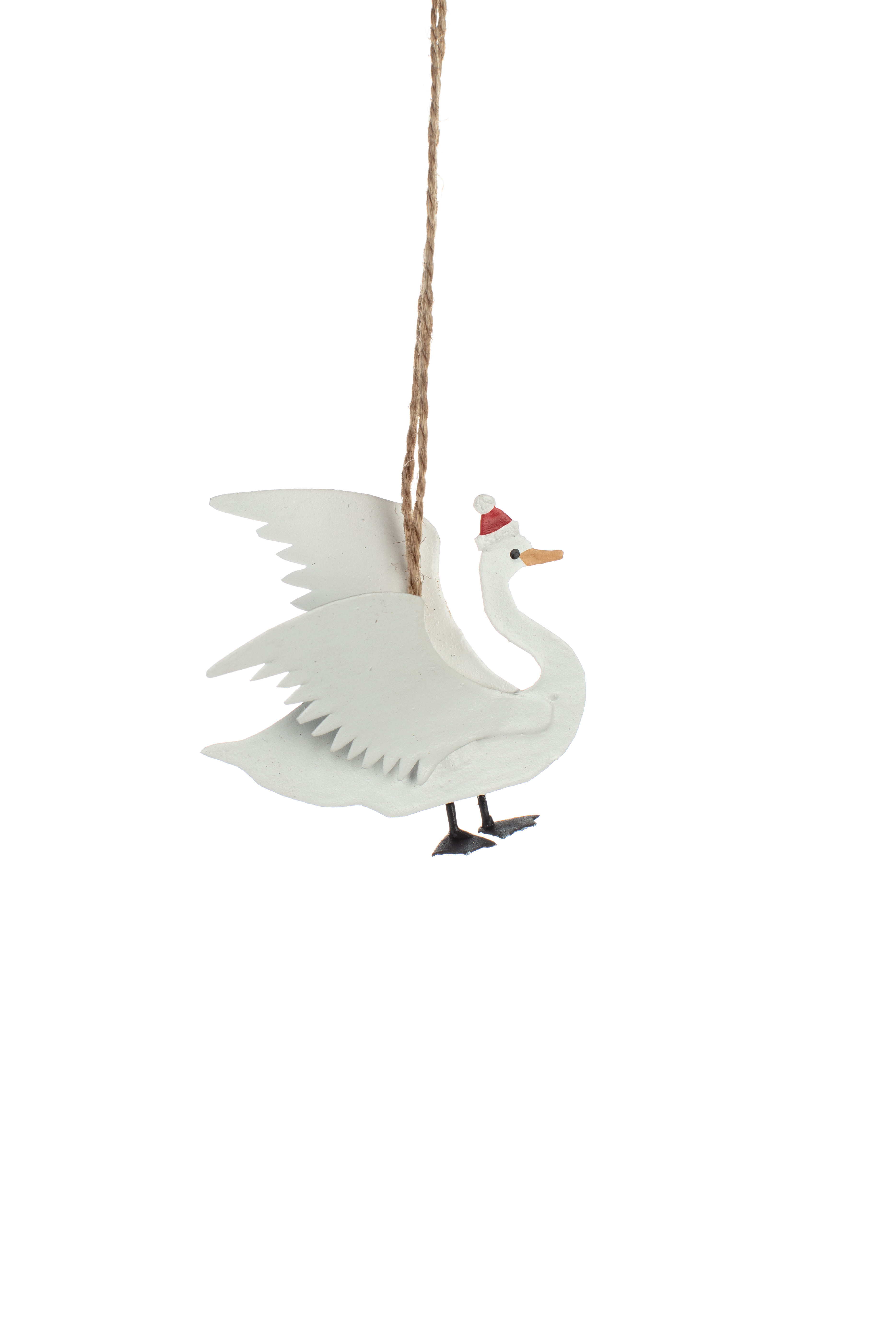 Swan with Christmas Hat Ornament