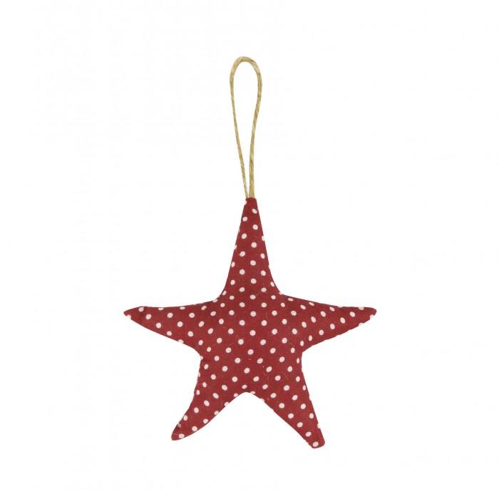 Fabric Dotty Starfish Hanger 11cm Red