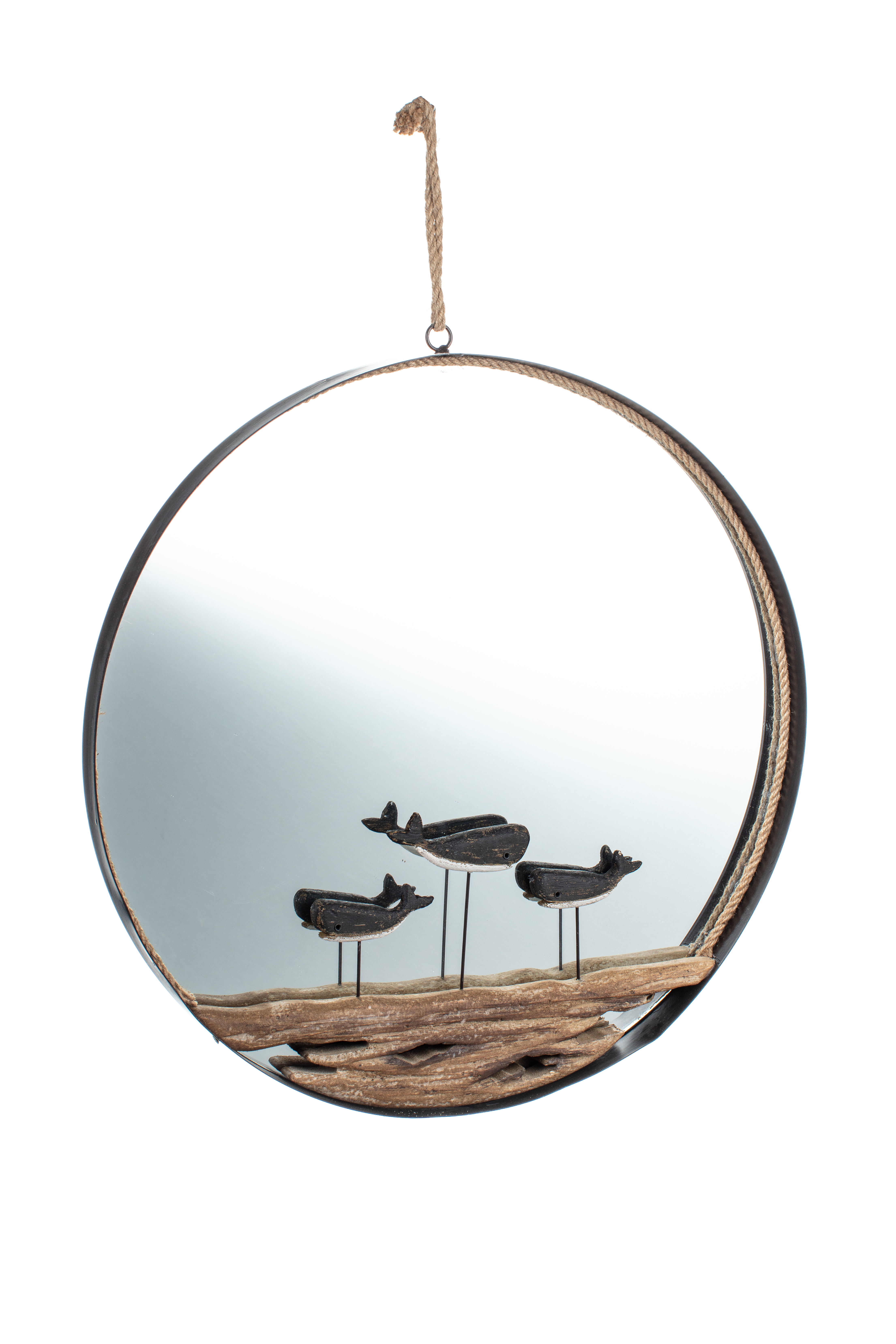 Mirror with Driftwood Whales