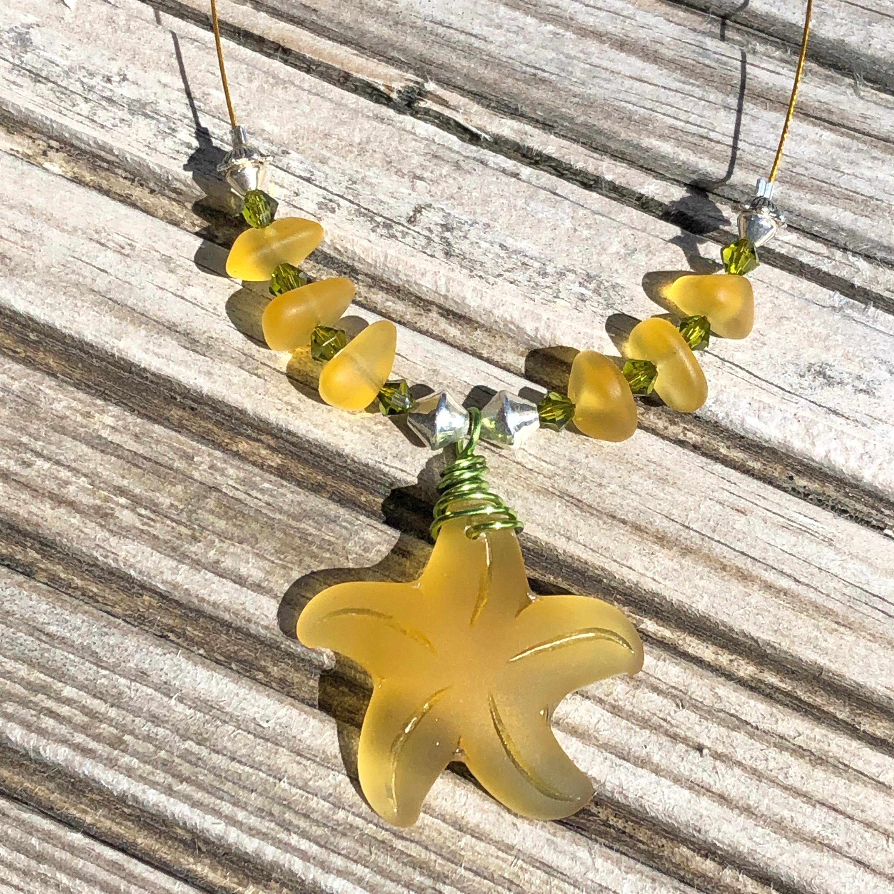 Starfish Necklace: Saffron Yellow SALE 20% (£30)