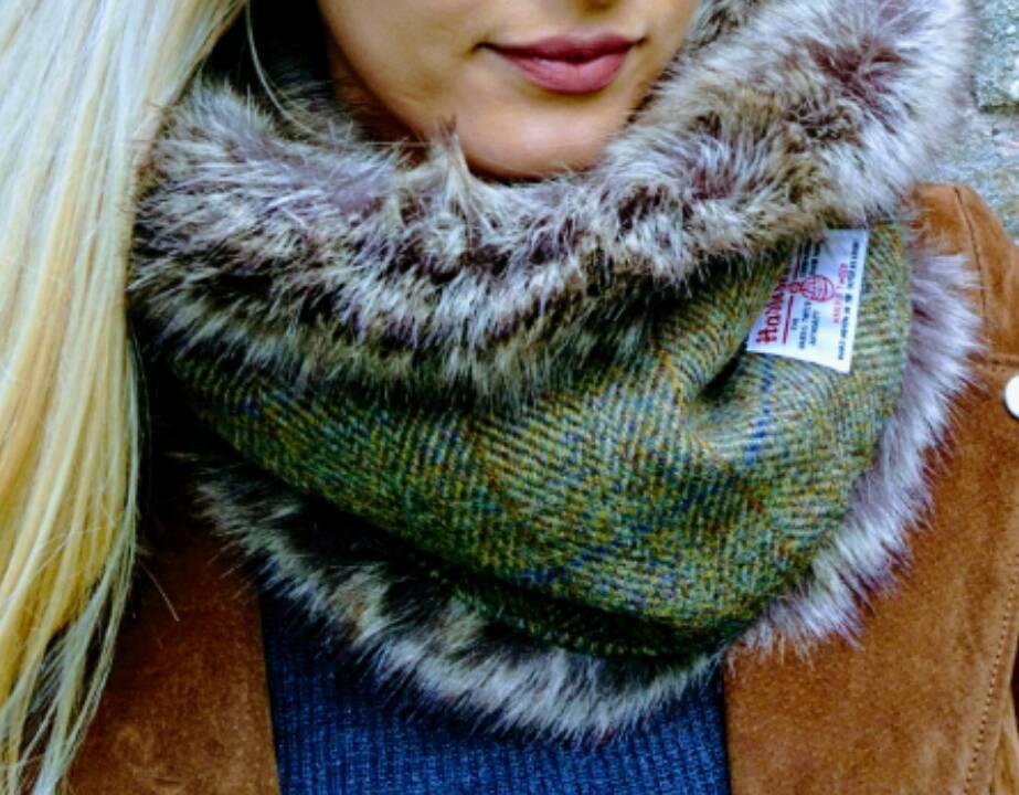 Luxury Harris Tweed & Faux Fur Snood SALE 15% (£49)