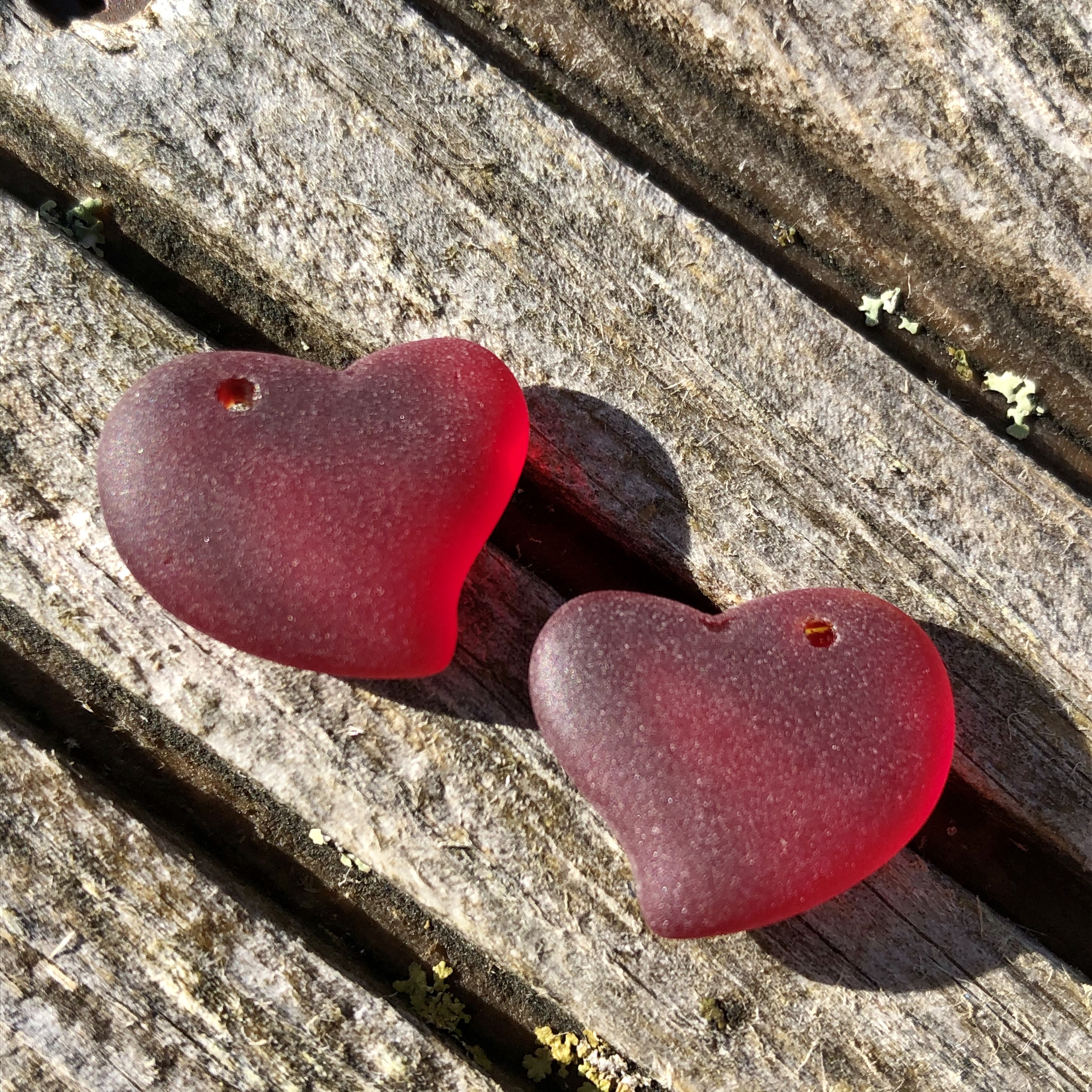 Sea Glass Heart - Cherry Red