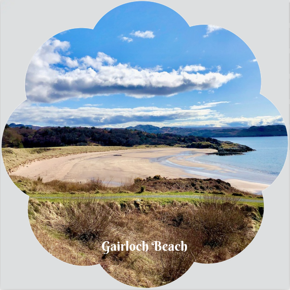L57 Flower Shaped Coaster: Gairloch Beach Viewpoint