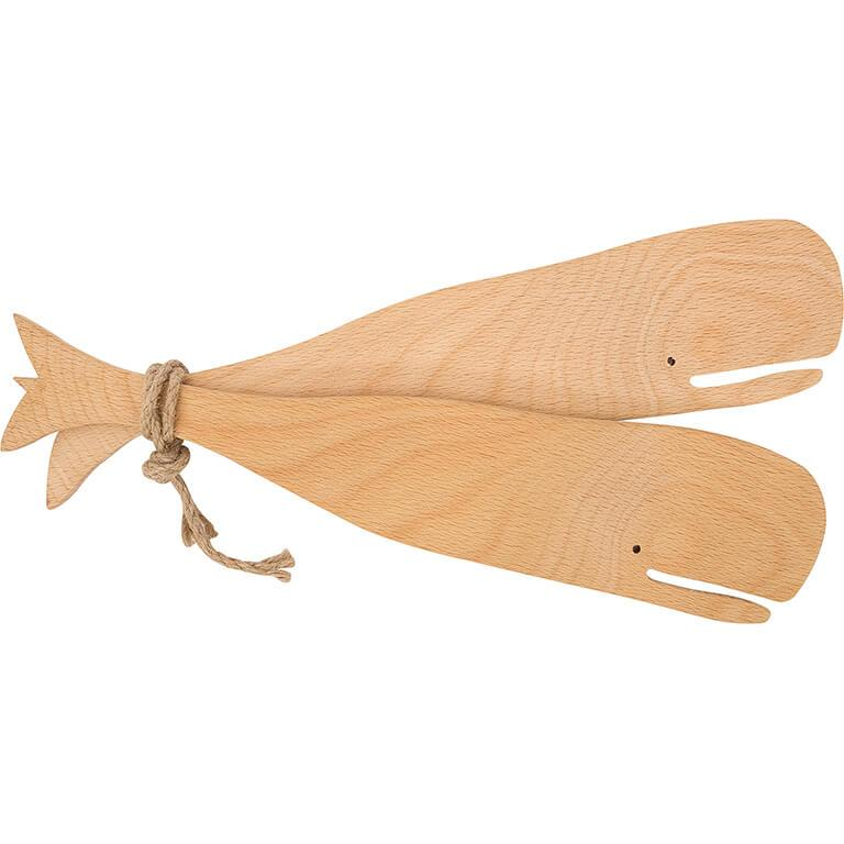 Wooden Whale Salad Servers