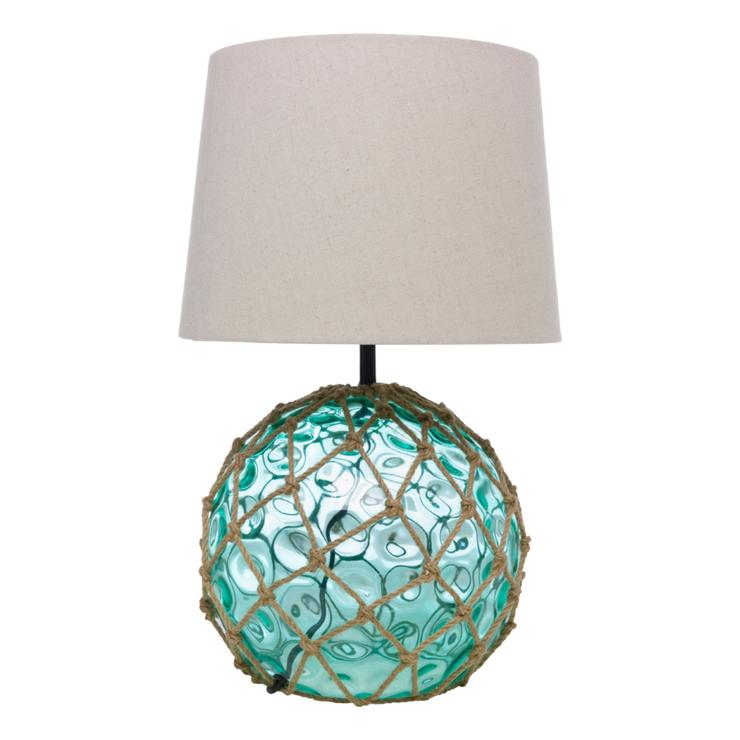 Glass Buoy Table Lamp 50cm Green