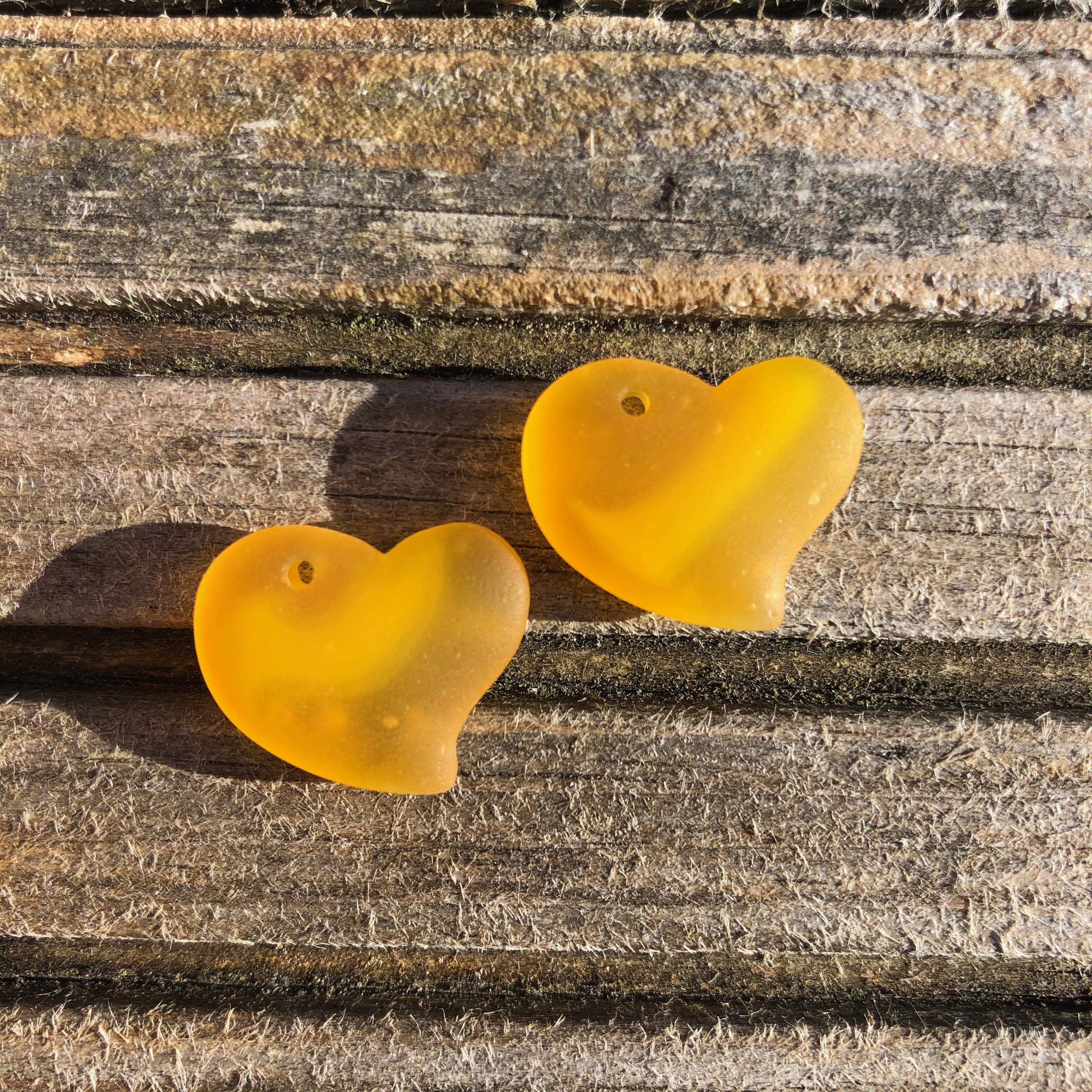 Sea Glass Heart - Saffron Yellow