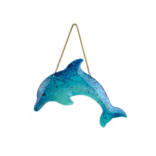Dolphin Wall Art Blue Glass 50cm