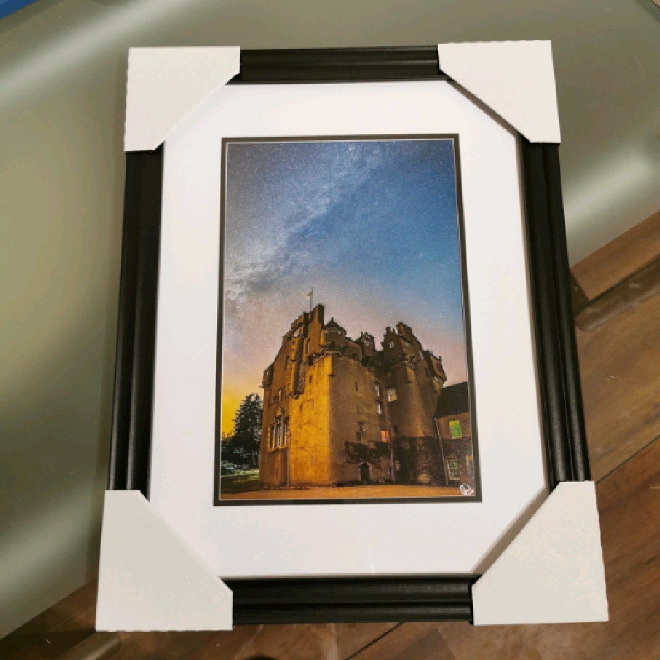 Milkyway over Crathes Castle, A4, signed, black