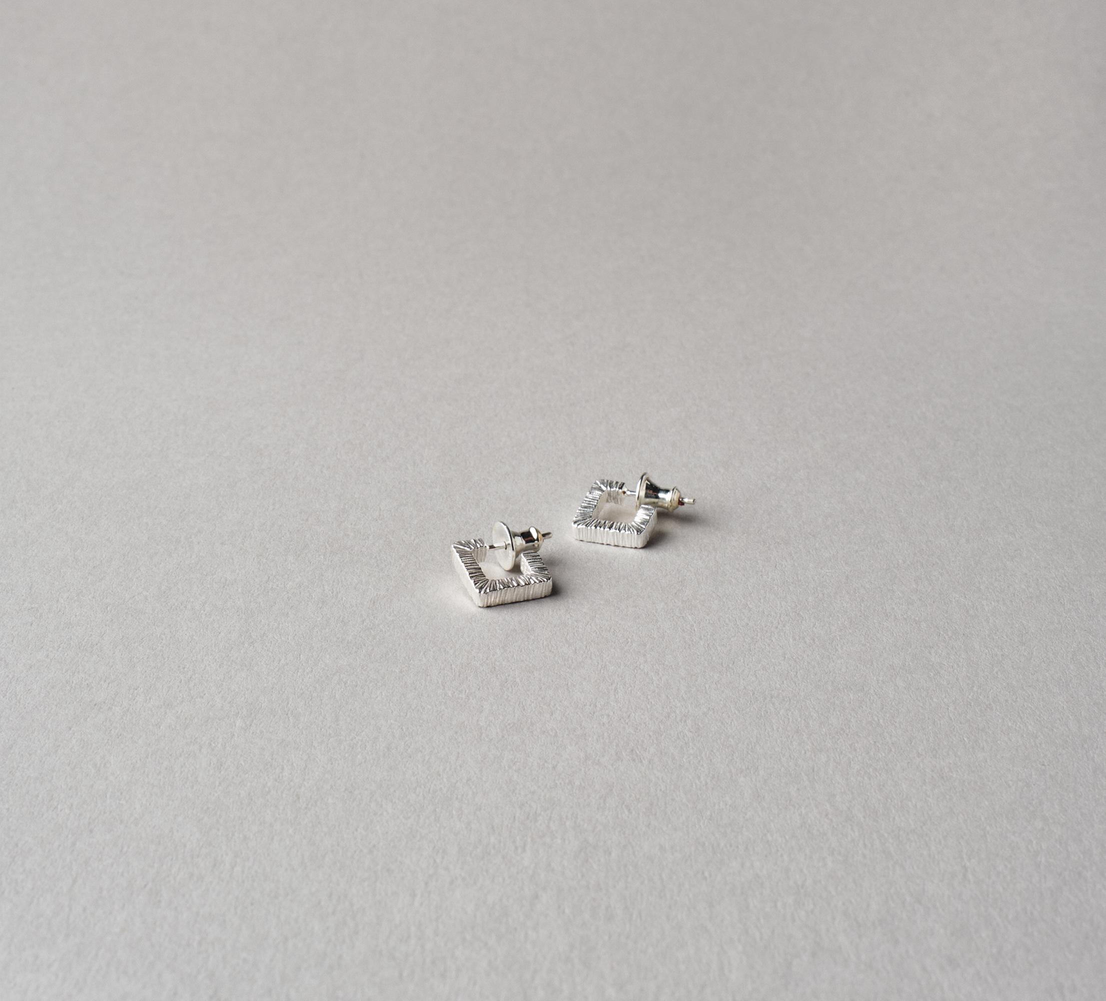 Square Slate Earrings Silver - S