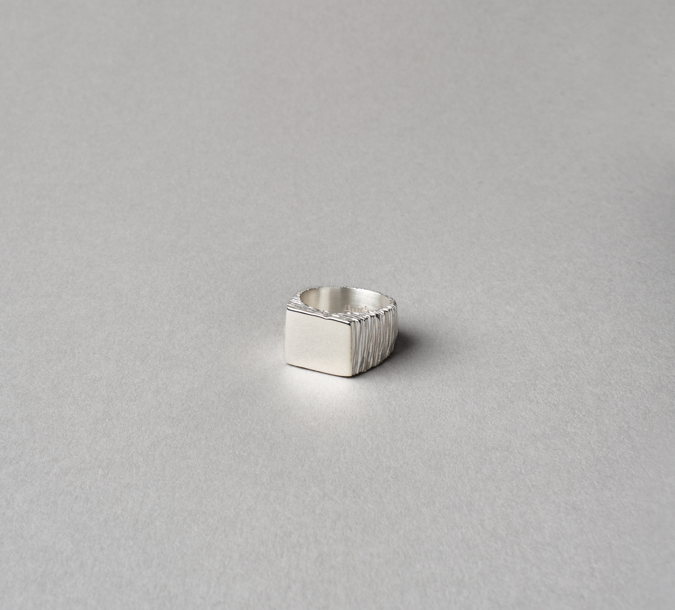 Square Slate Ring Silver