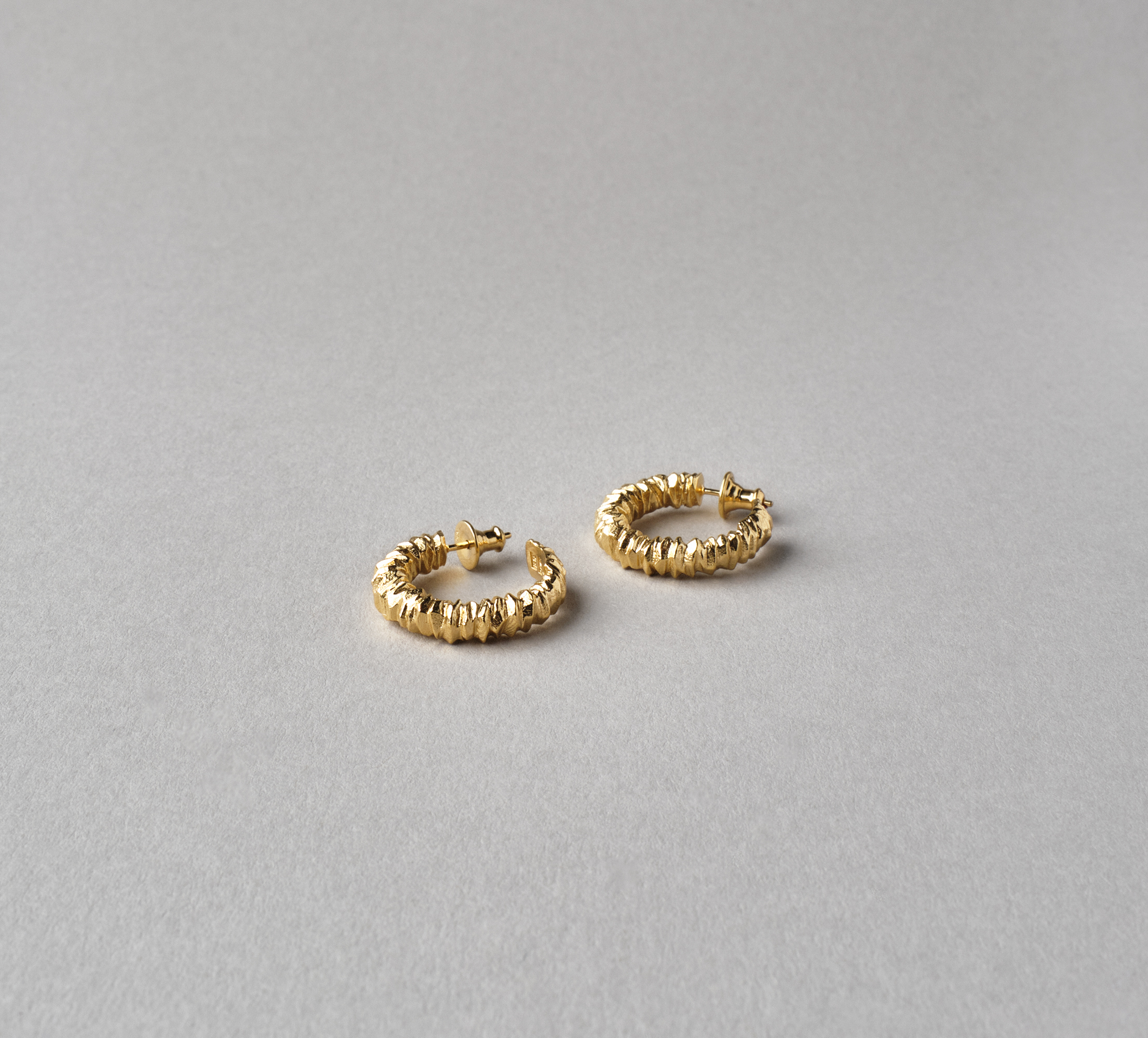Round Crystal Earrings Vermeil - L