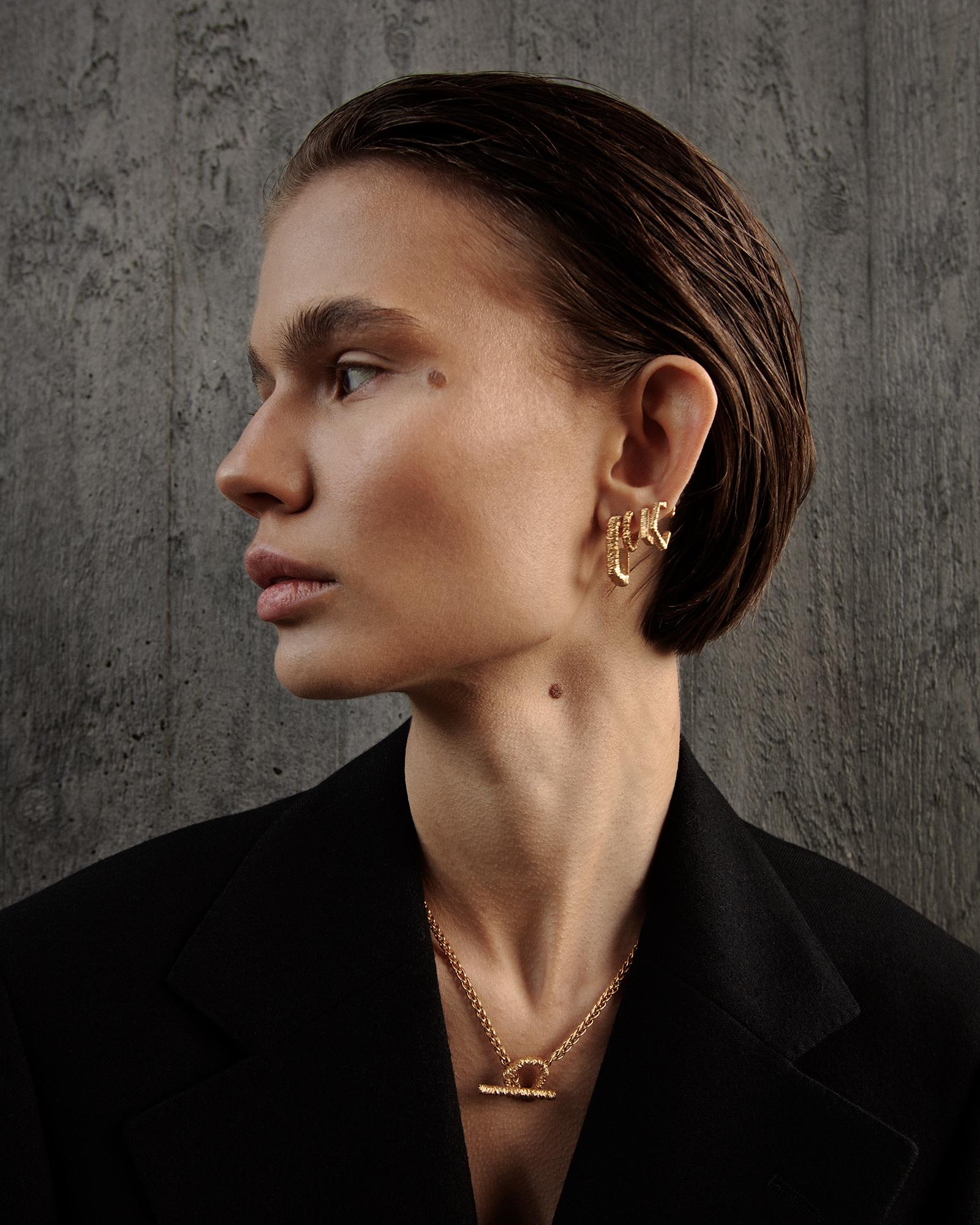 Asymmetric Crystal Earrings Vermeil - S