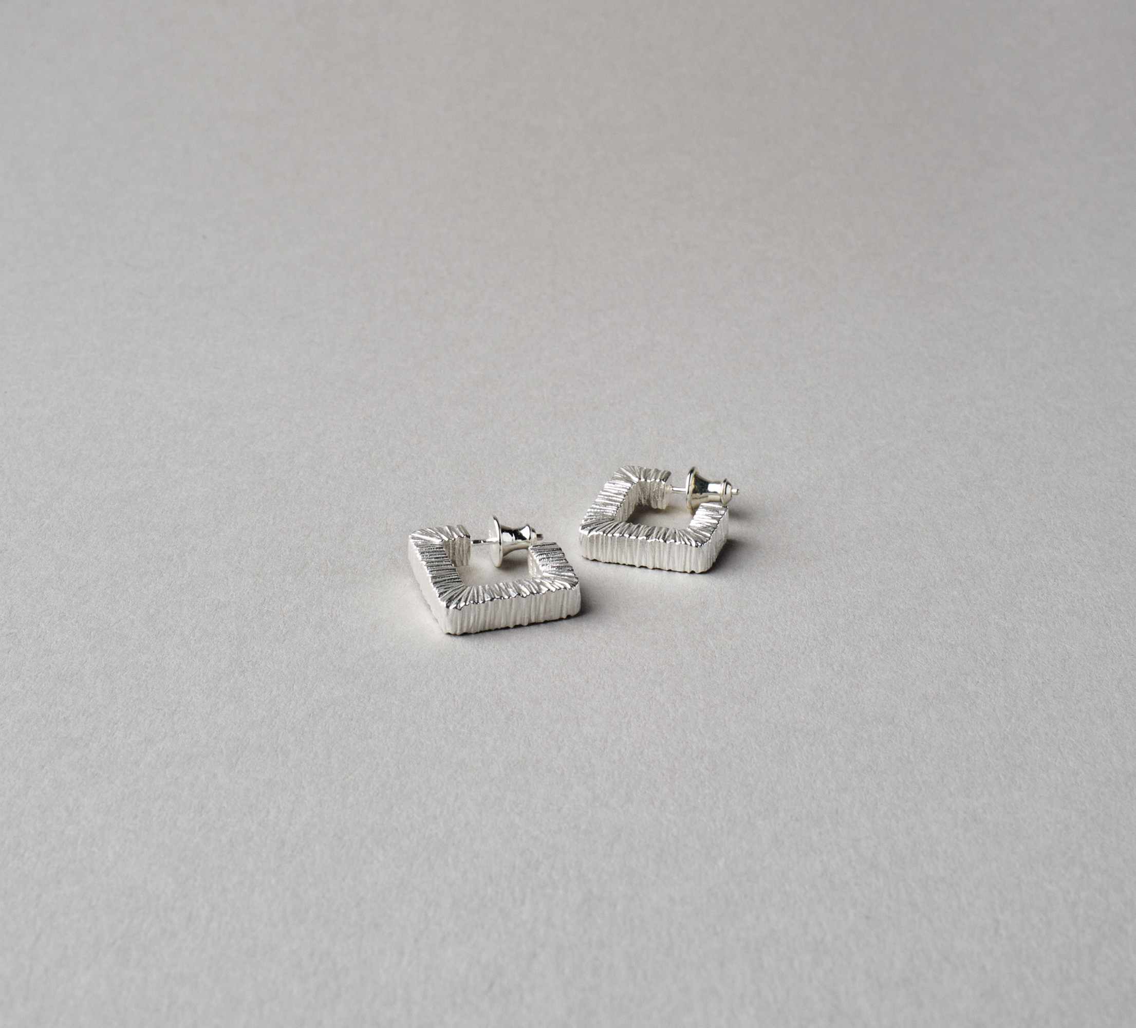 Square Slate Earrings Silver - L