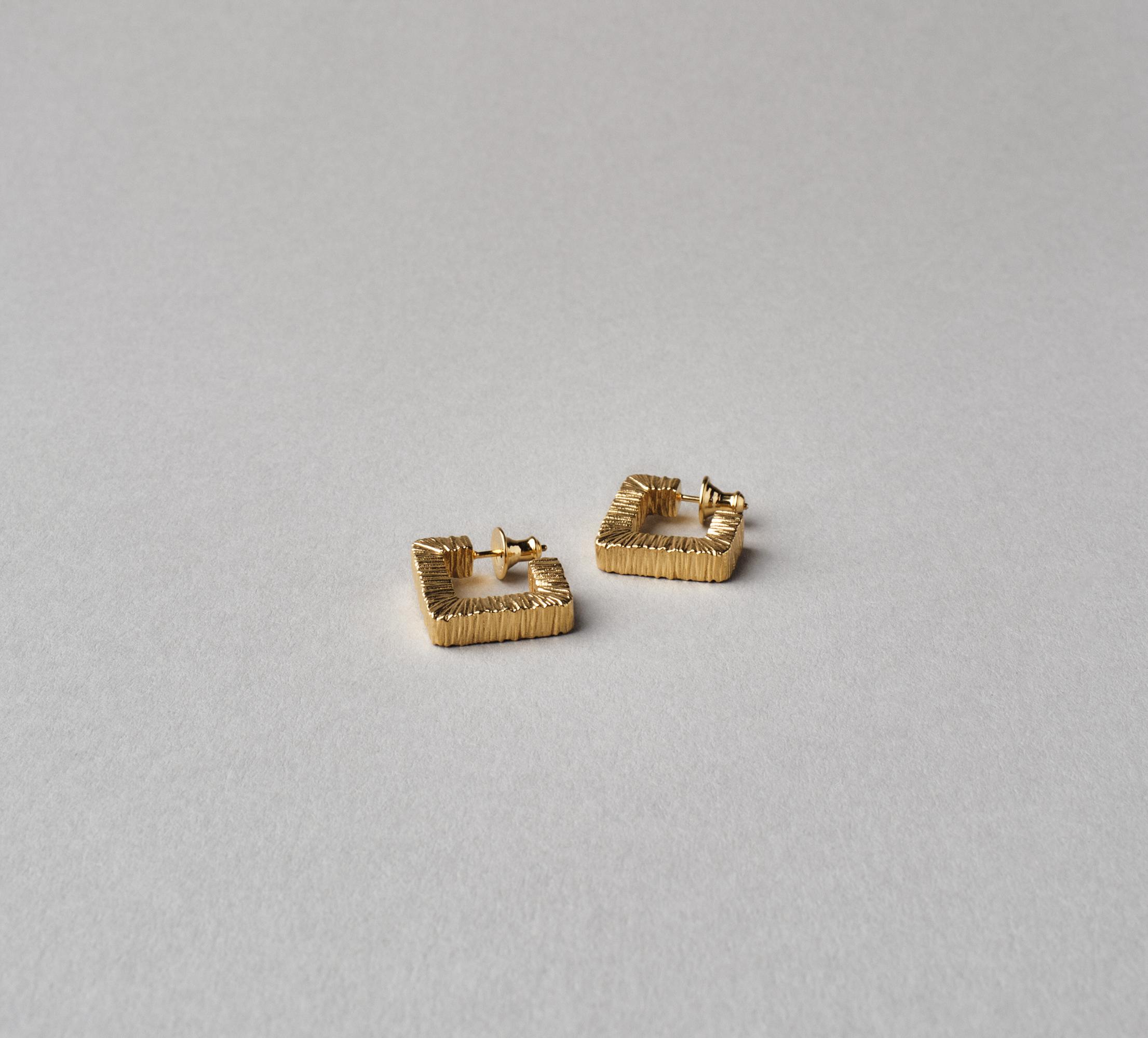 Square Slate Earrings Vermeil - L