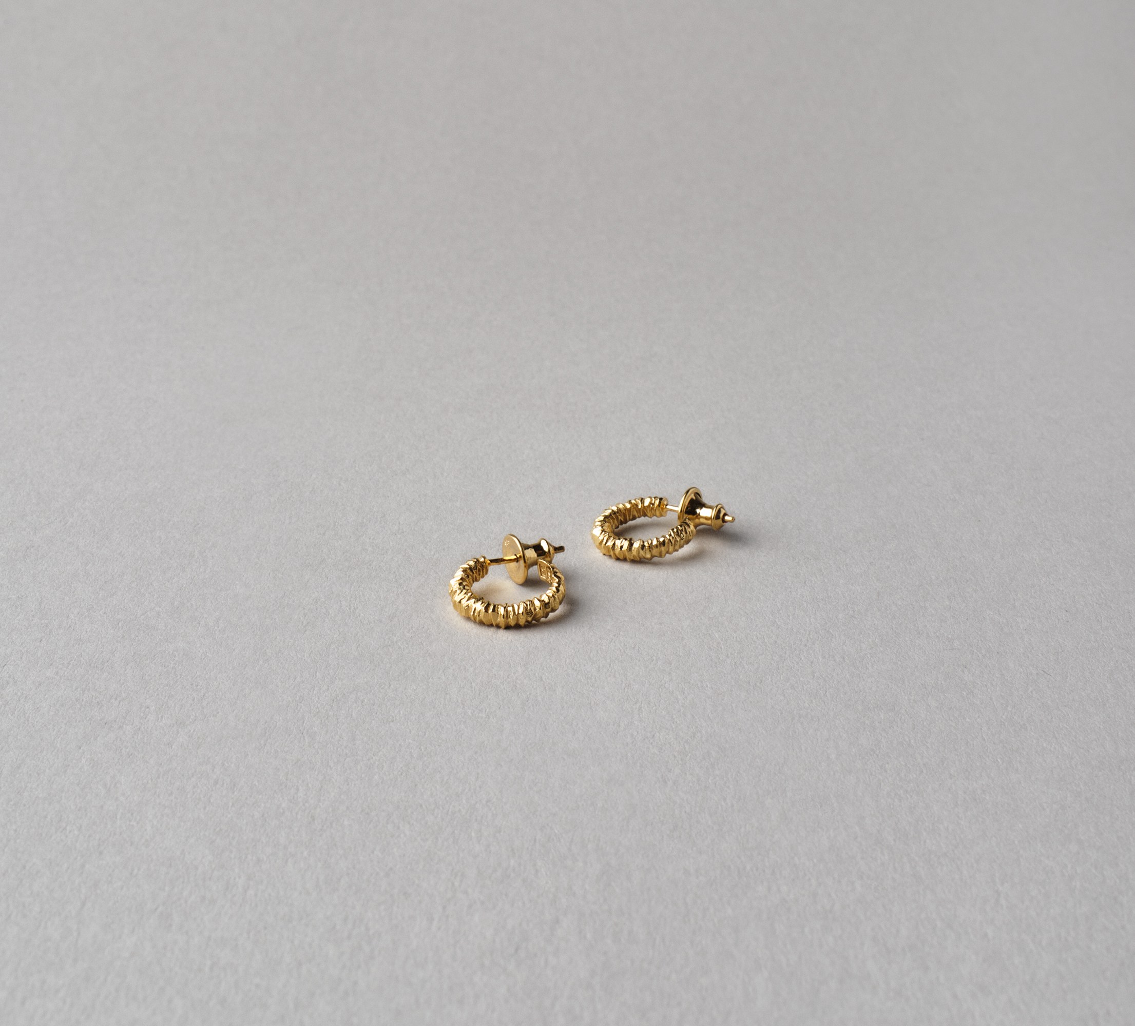 Round Crystal Earrings Vermeil - S