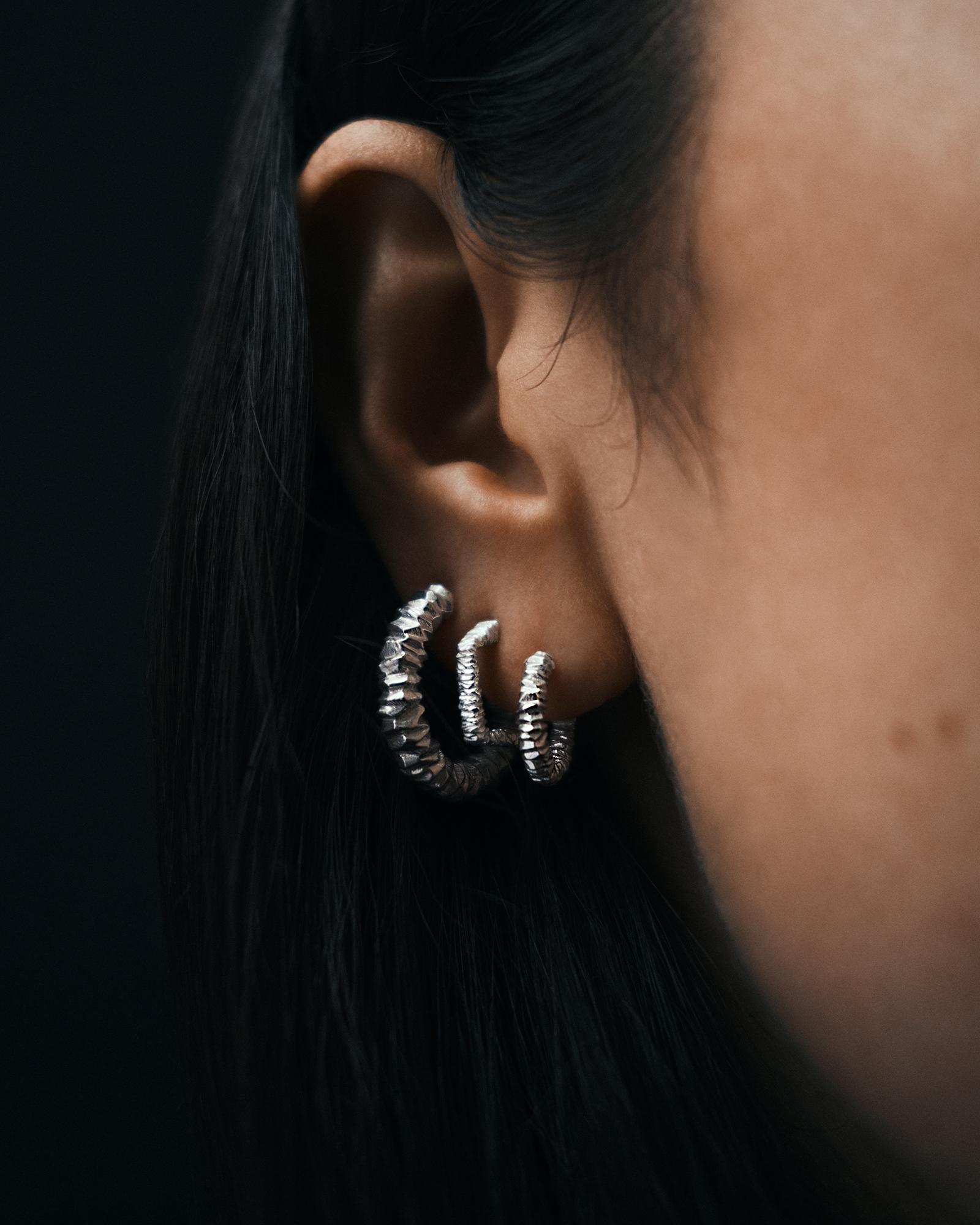 Asymmetric Crystal Earrings Silver - S