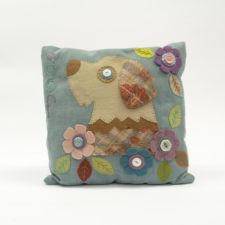 Stitched Dog Cushion - Square
