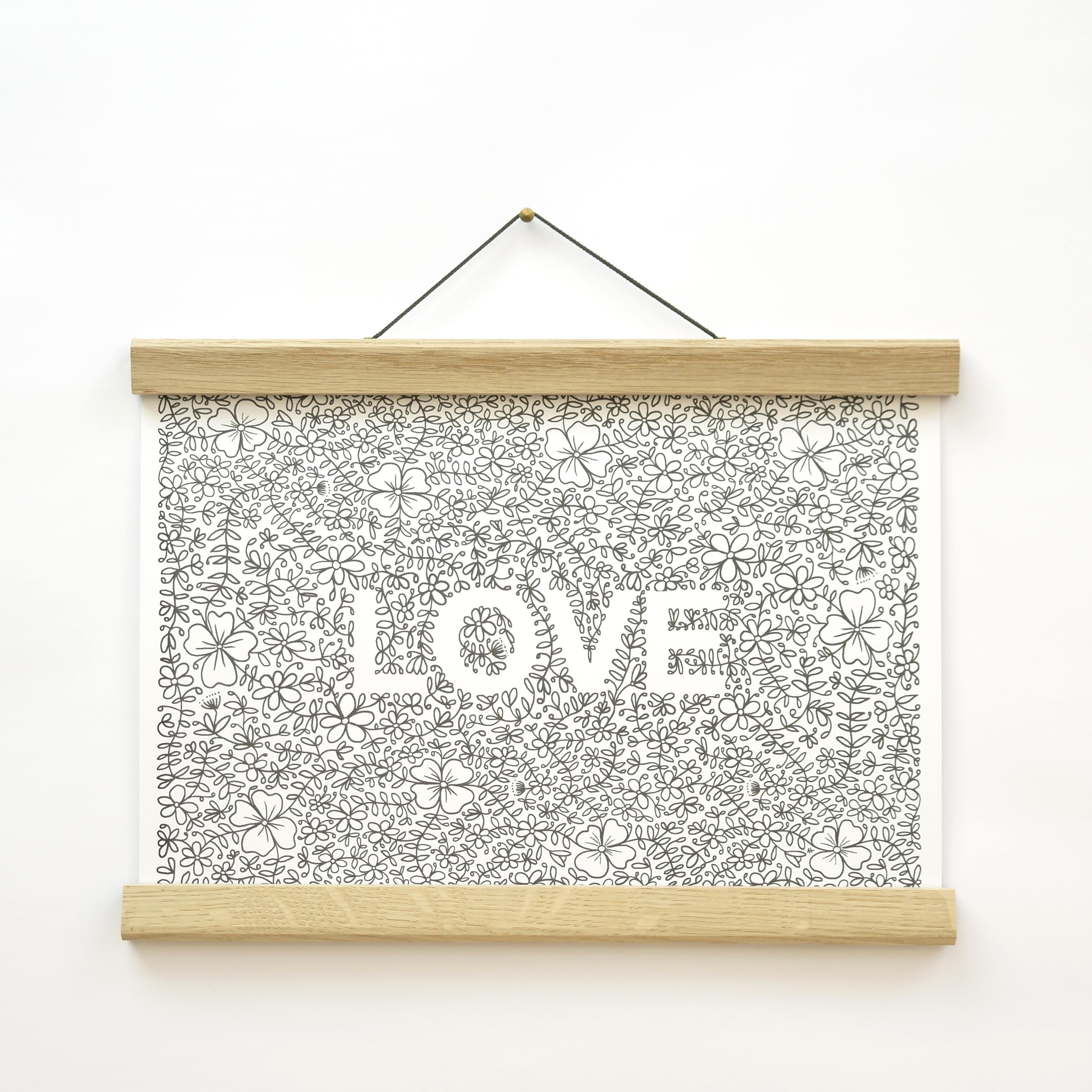 'Love' A4 Floral Print (unframed)