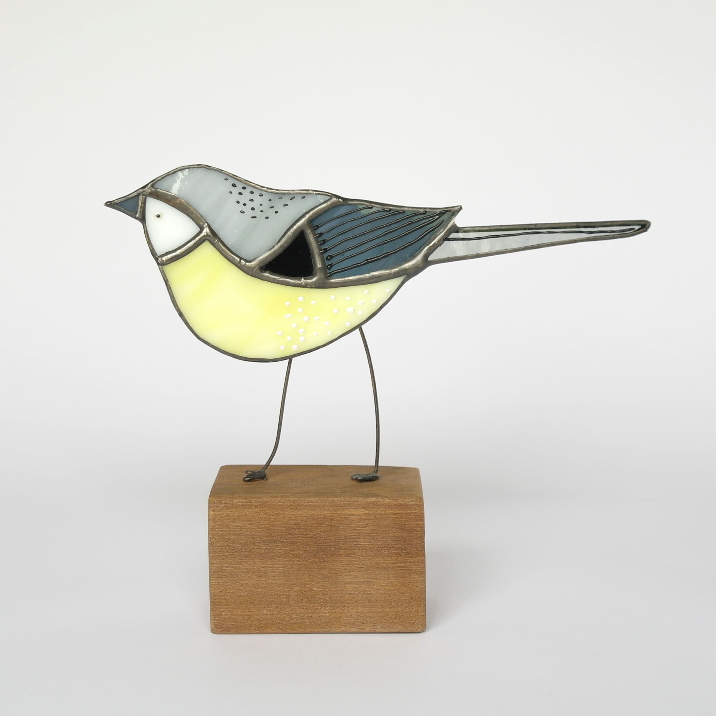 Grey Wagtail Bird on Block (Boxed)