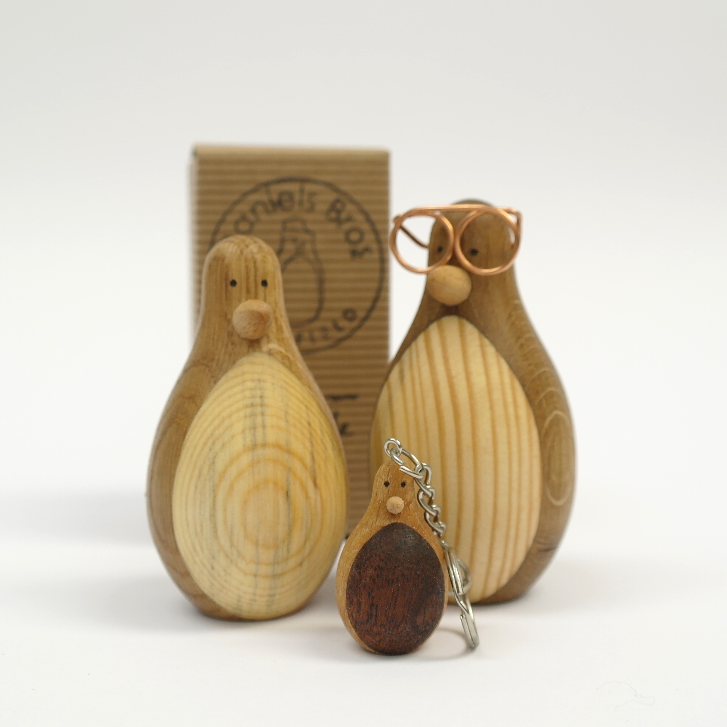 Hipster Wooden Penguin with Glasses