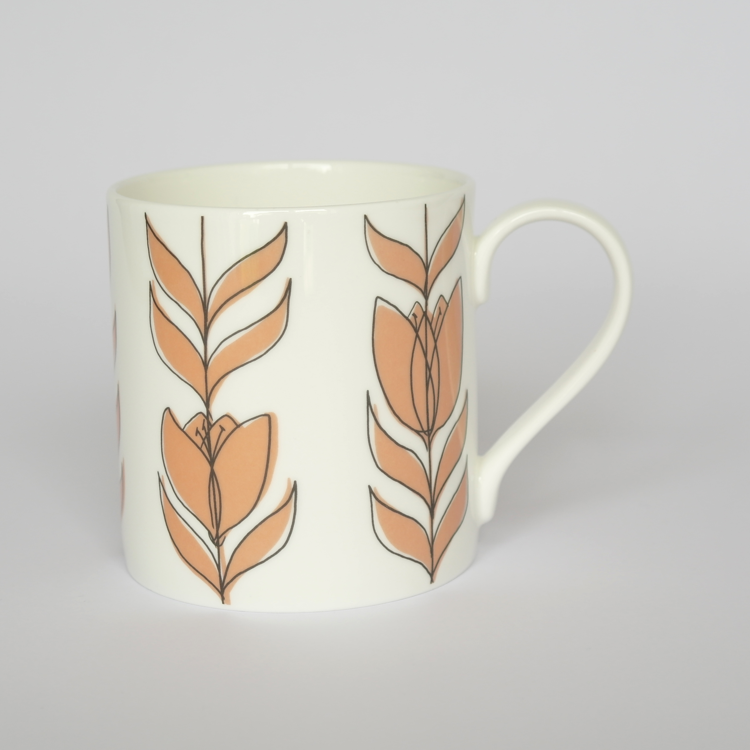 Tulip Linear Closed Mug Boxed (English Fine Bone China) Available in 6 Colourways