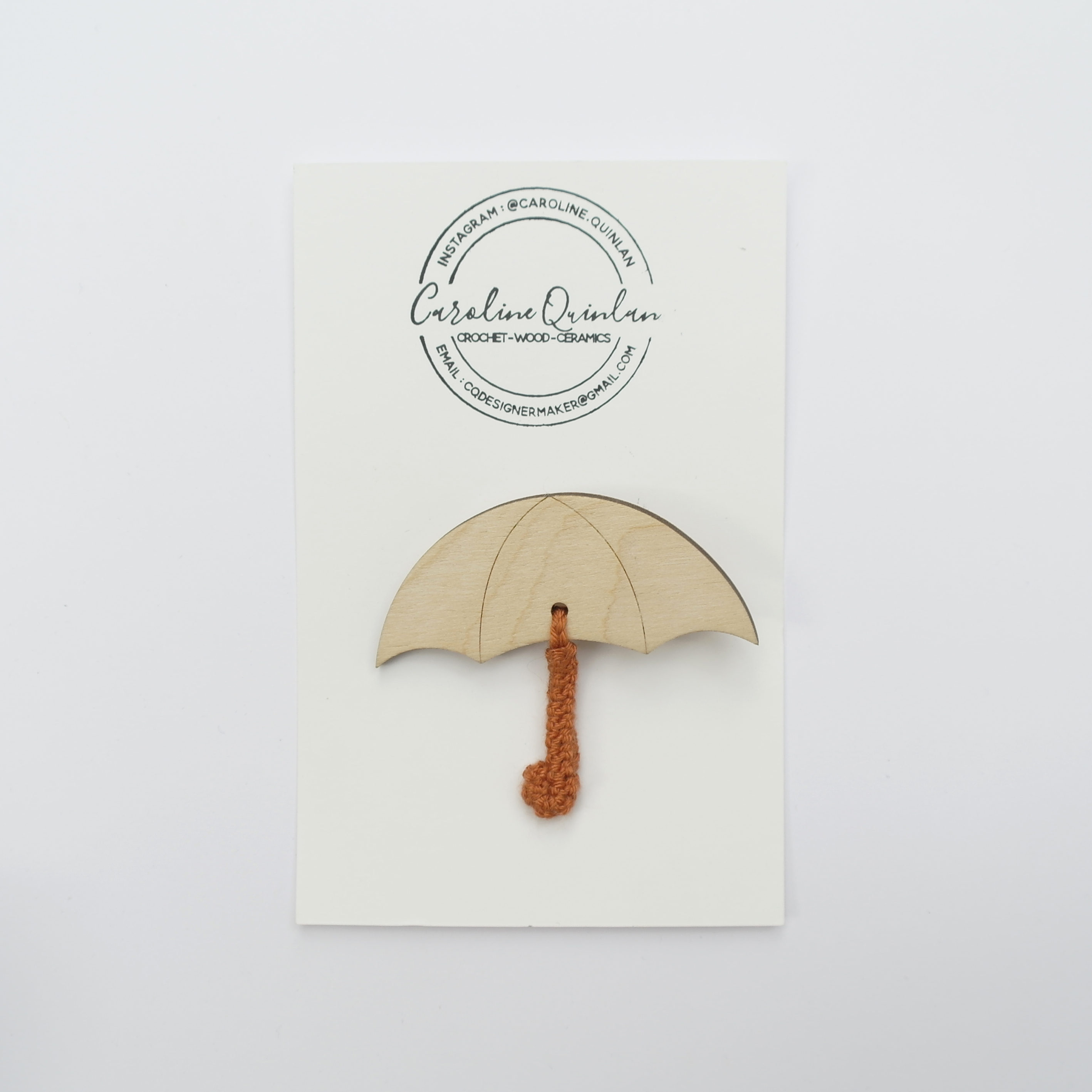 Umbrella Brooch - Wood with Crochet