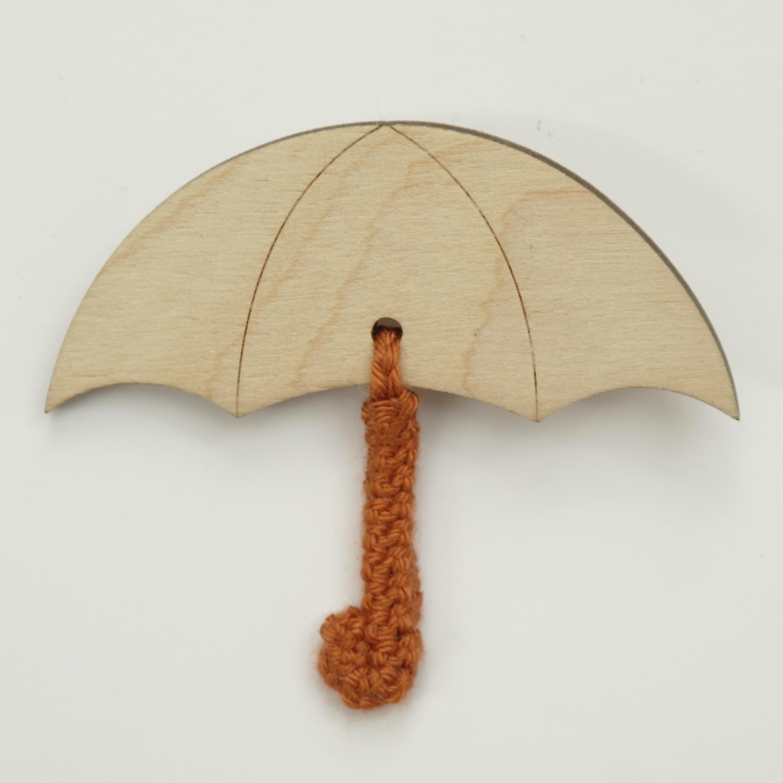 Umbrella Brooch - Wood with Crochet