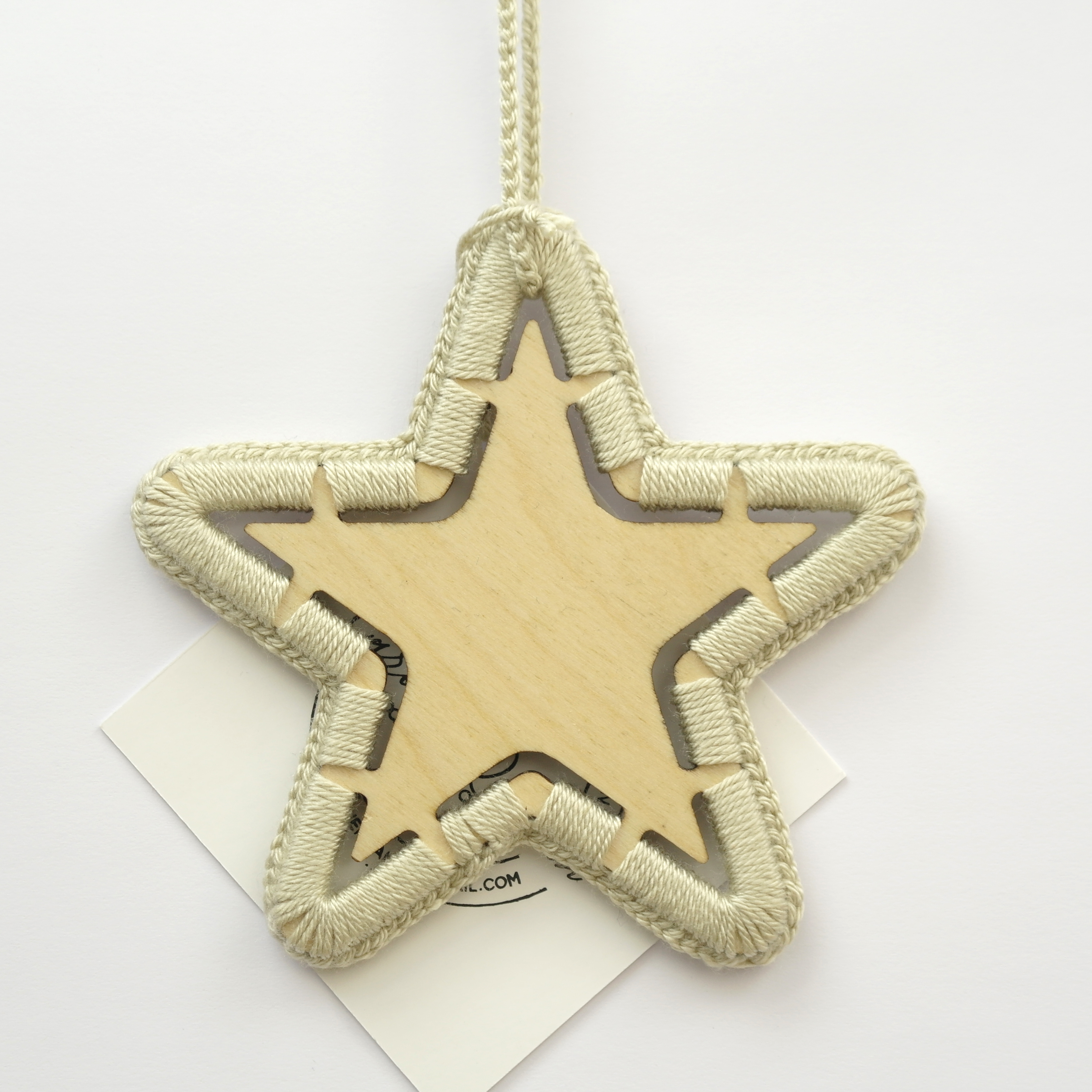 Wooden Crocheted Star Decoration - Available in Sandstone and Mustard