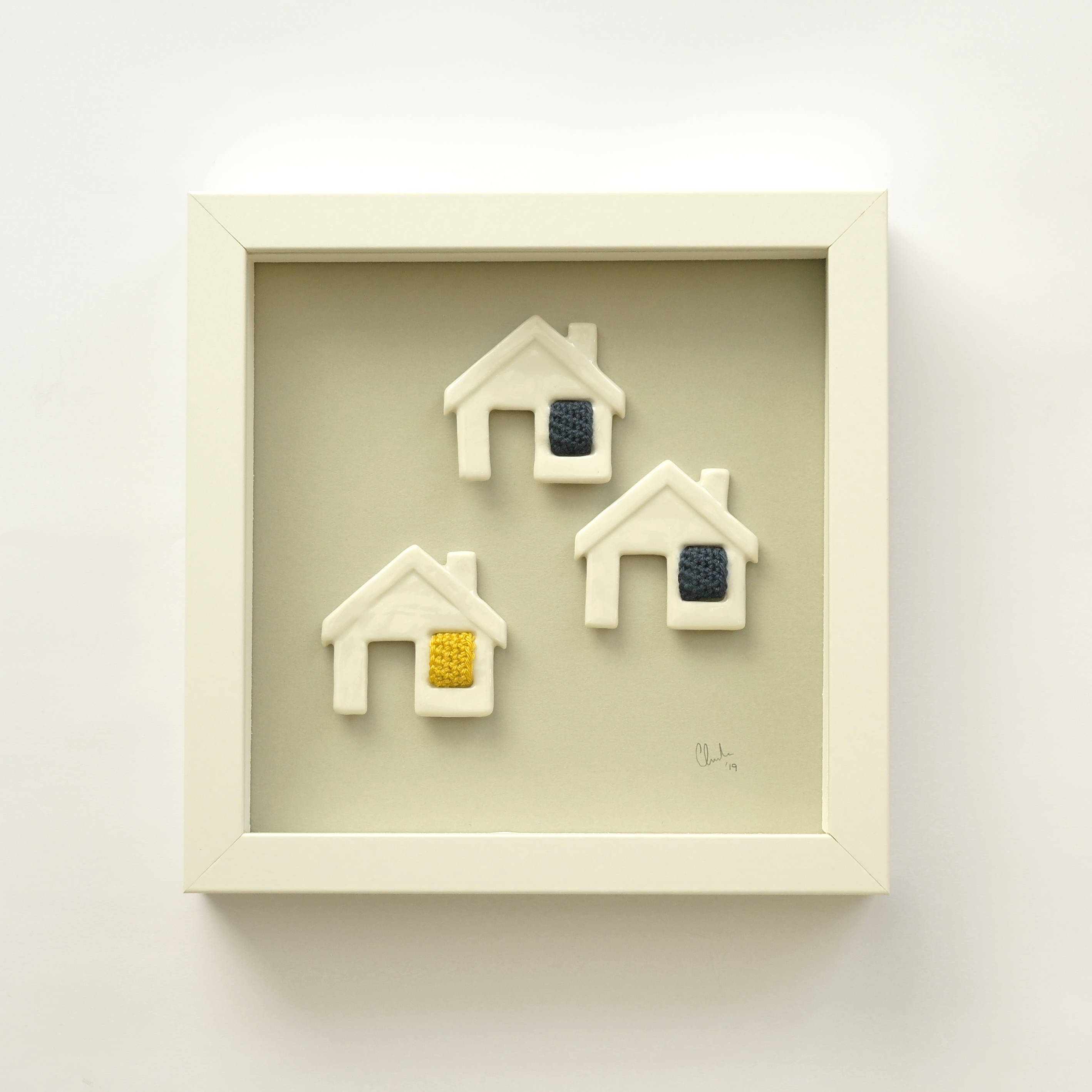 Ceramic Cottages with Crocheted Windows Framed