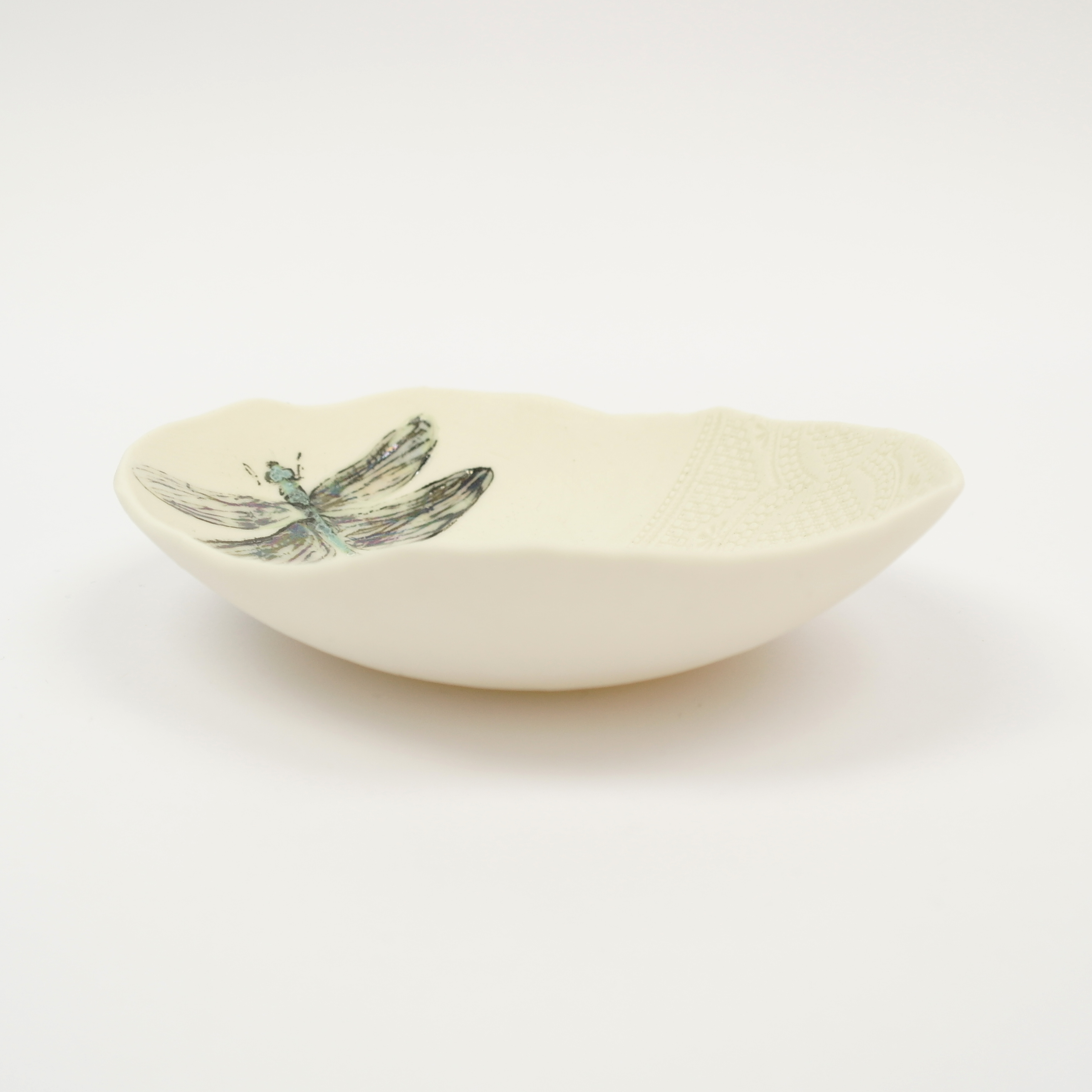 Ceramic Dragonfly Bowl Lace Top (Boxed)