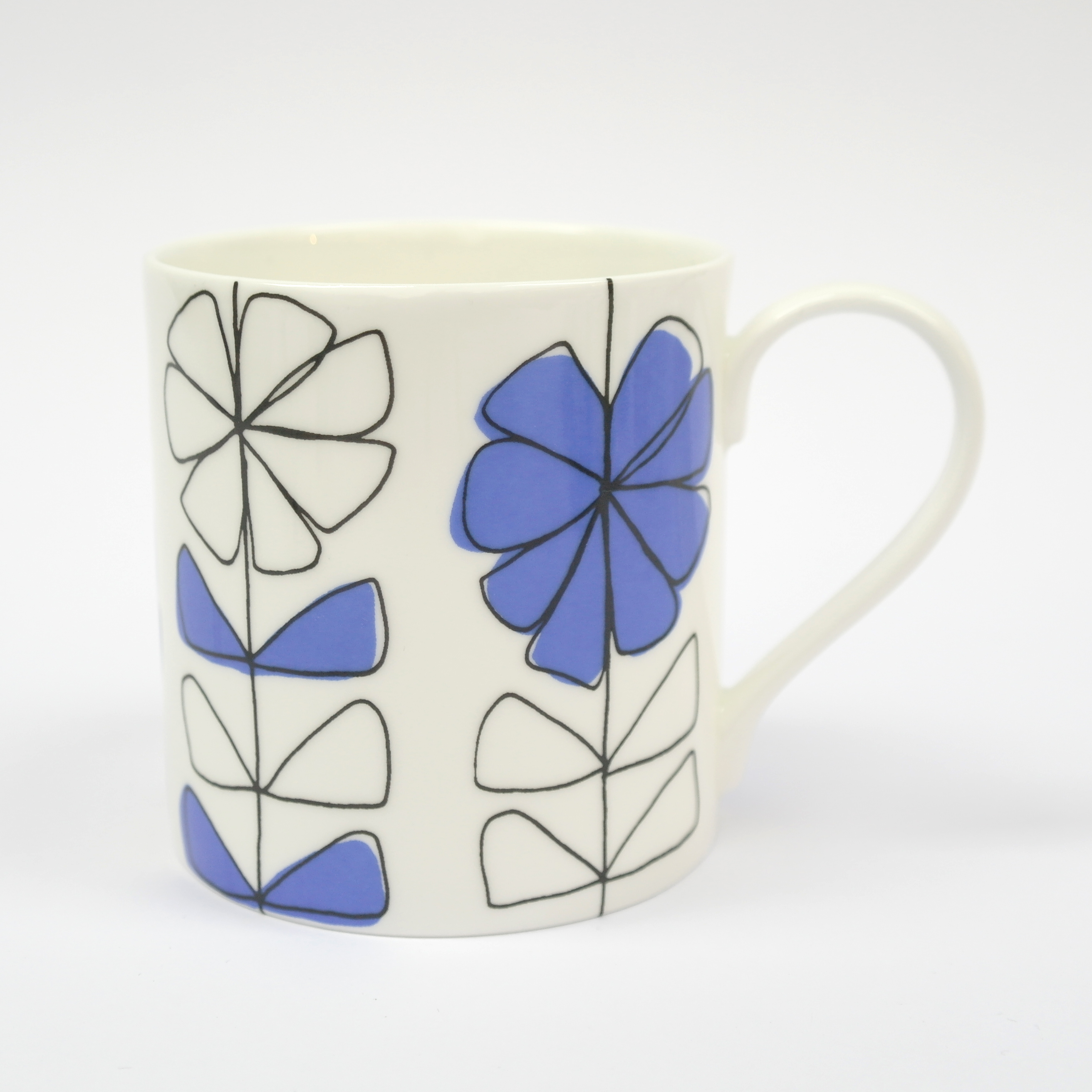 Floral Linear Open Mug Boxed (English Fine Bone China) Available in 6 Colourways