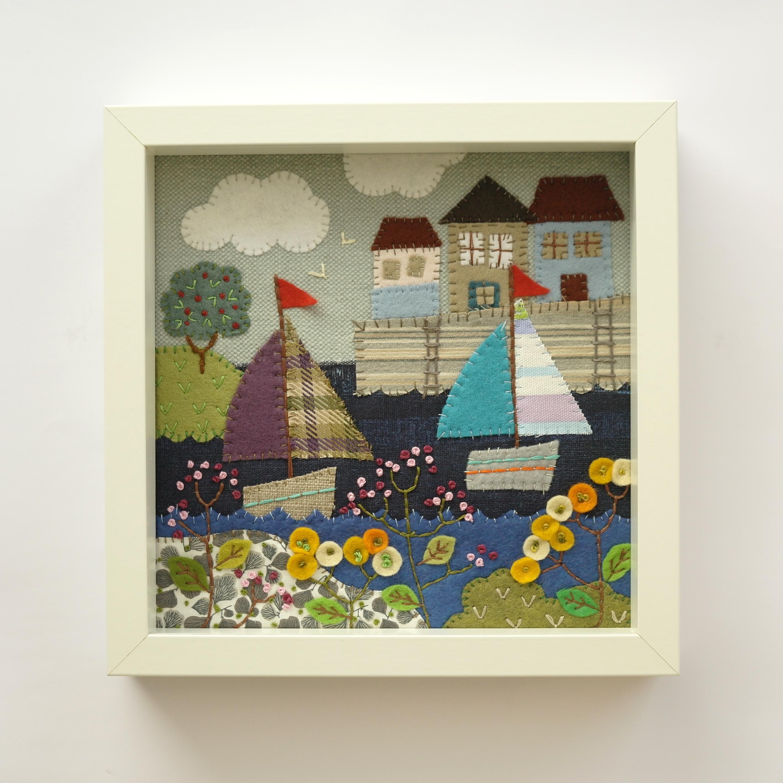 Stitched Seaside Scene Appliqué Collage (Framed)