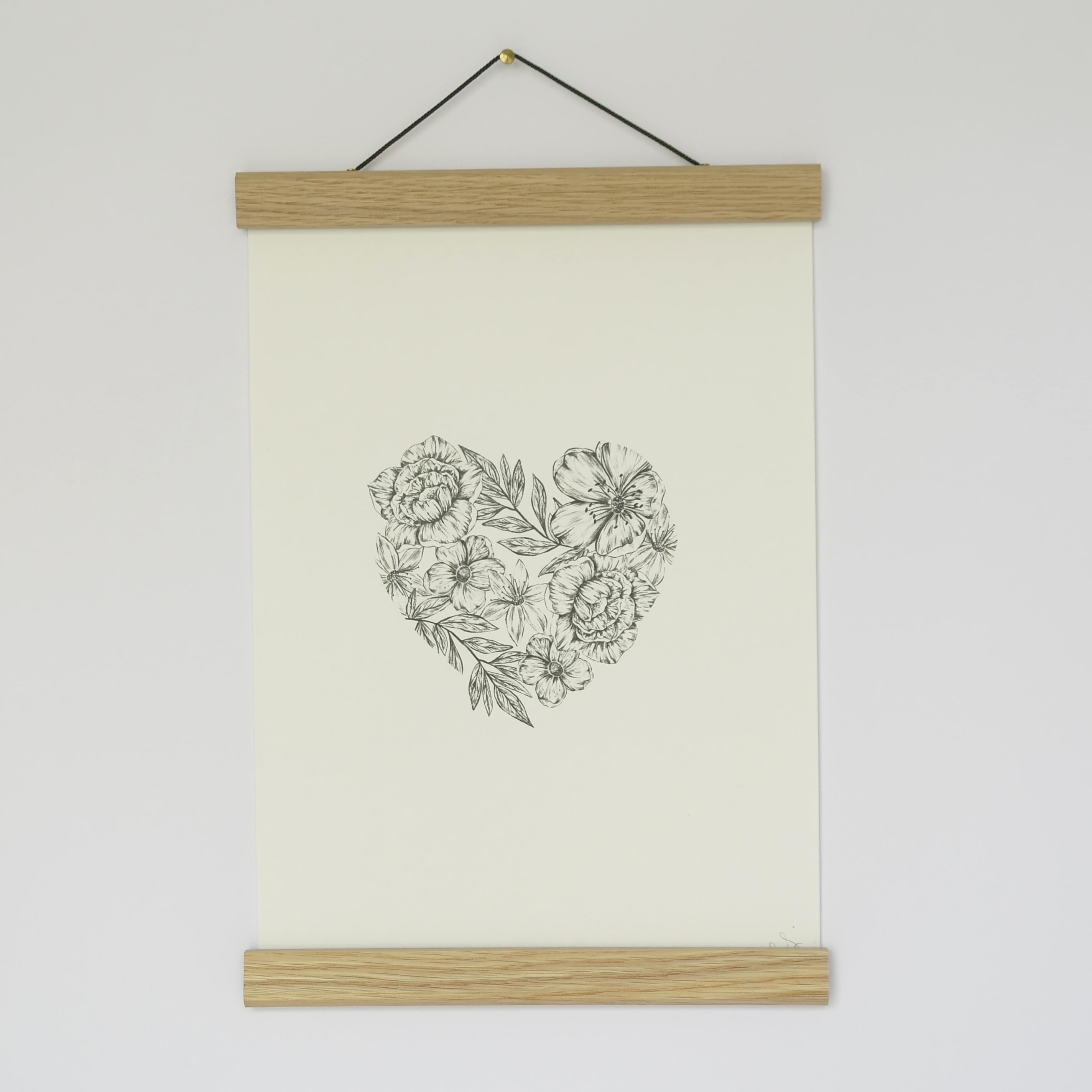 A4 Floral Heart Print