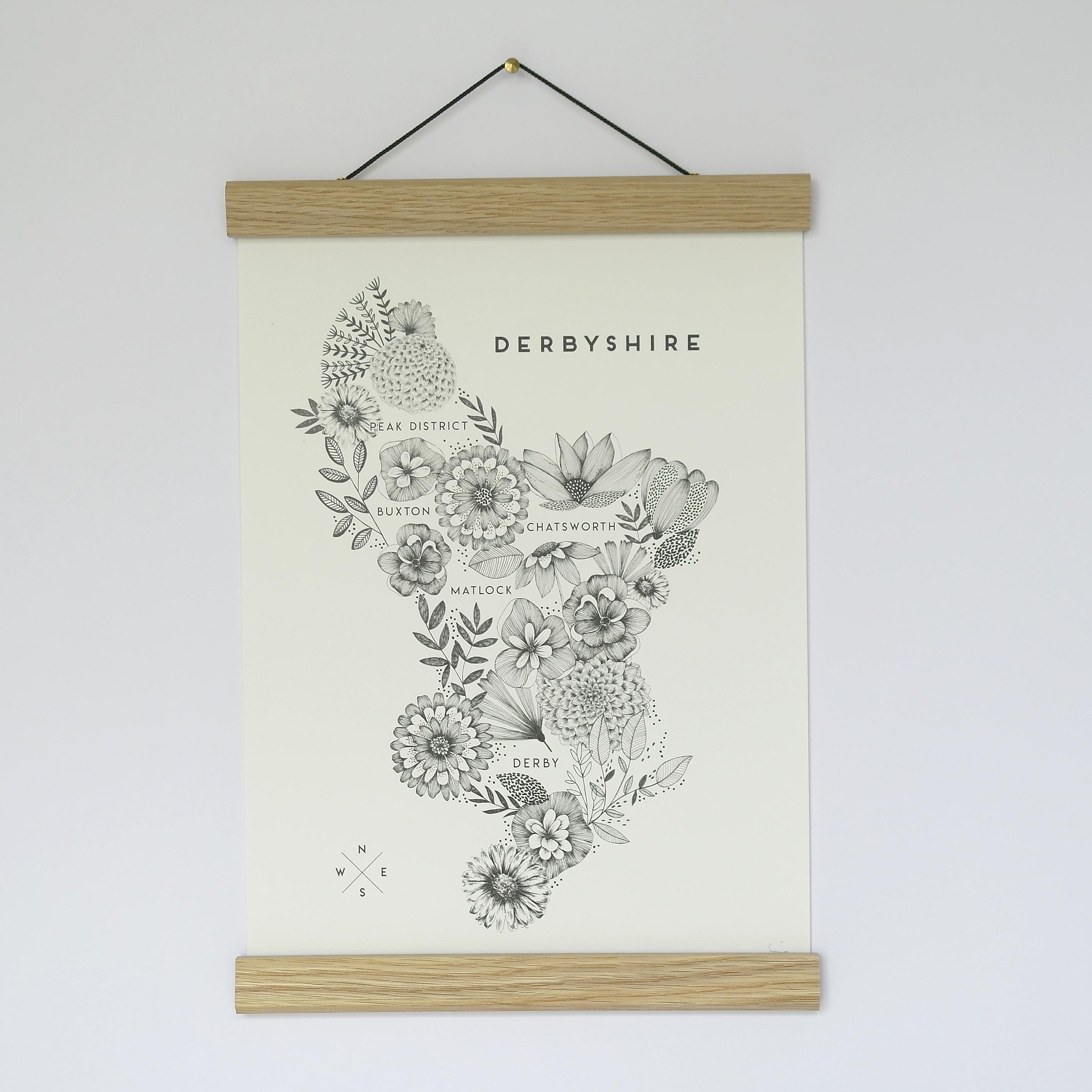 A4 Print Floral Map Derbyshire