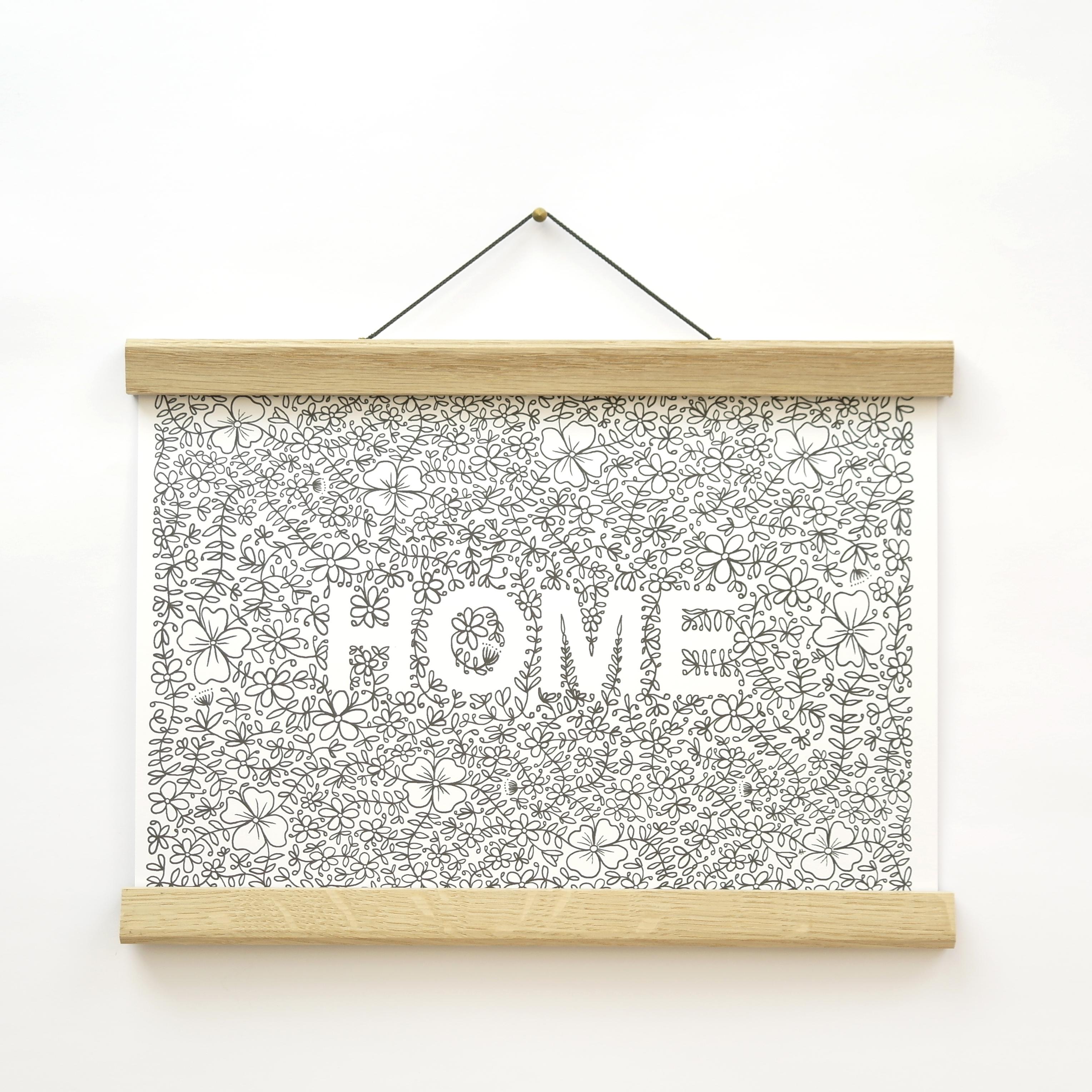'Home' A4 Landscape Floral Print (unframed)