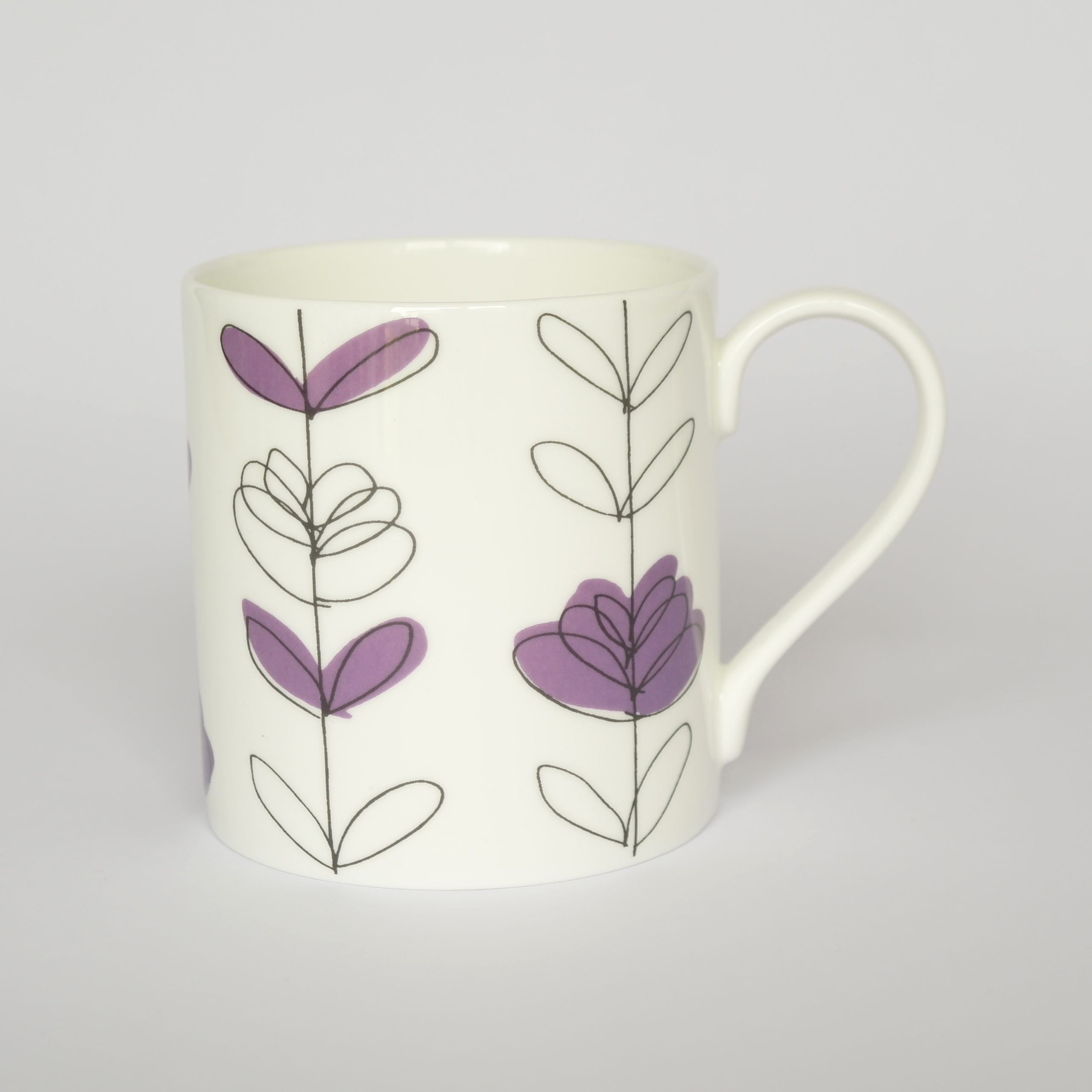 Heart Linear Open Mug Boxed (English Fine Bone China) Available in 6 Colourways
