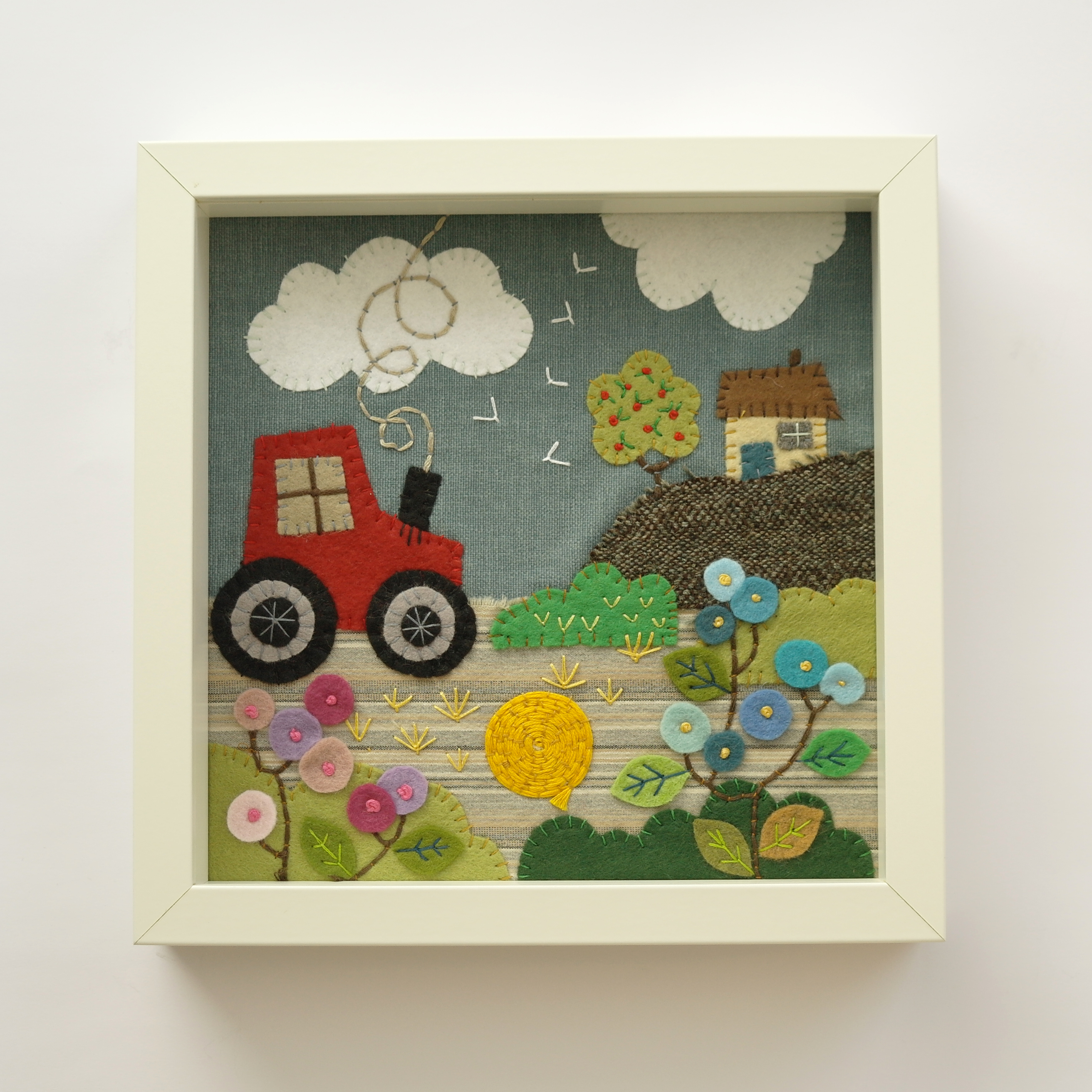 Stitched Tractor Scene Appliqué Collage (Framed)