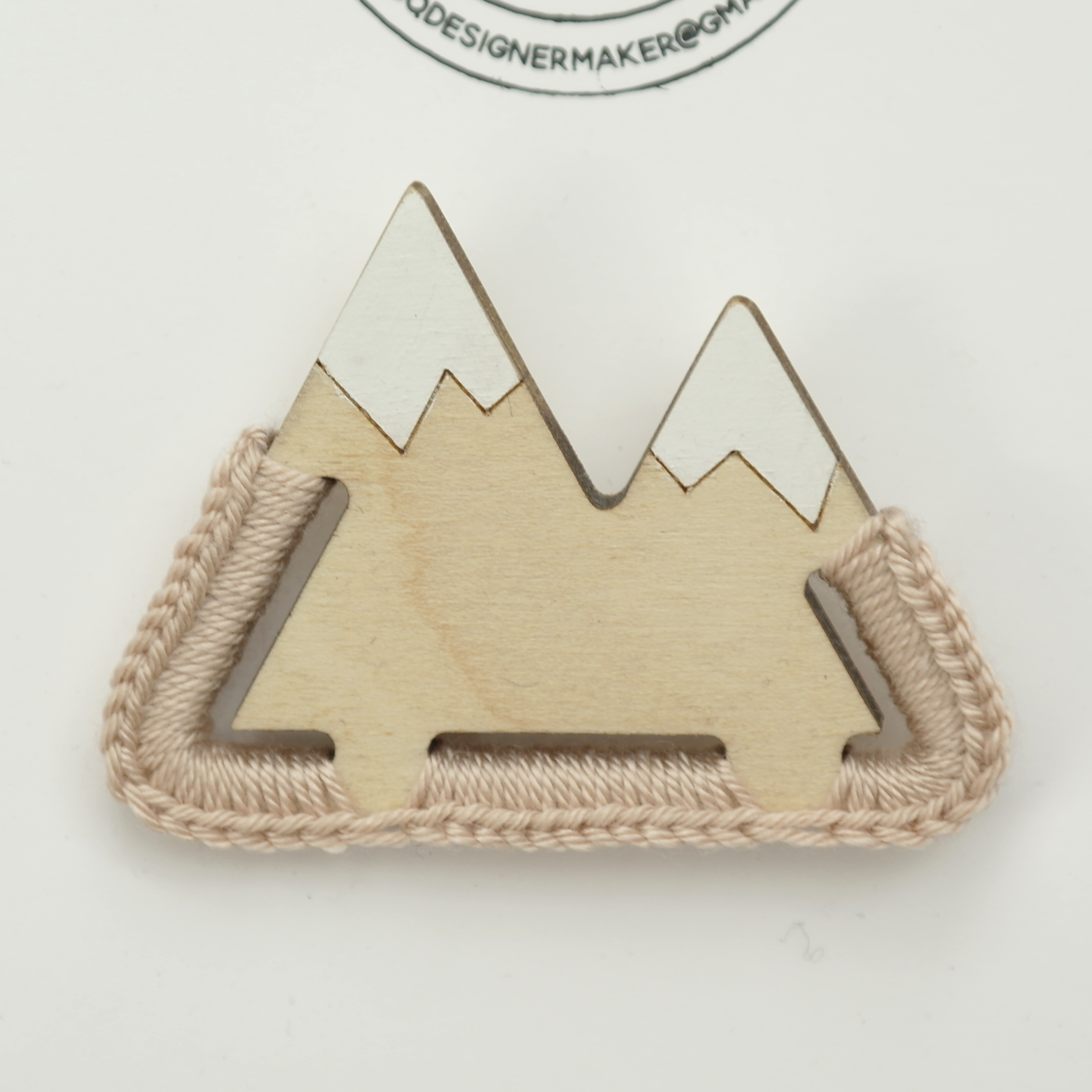 Snow Topped Mountain Brooch - Wood with Crochet