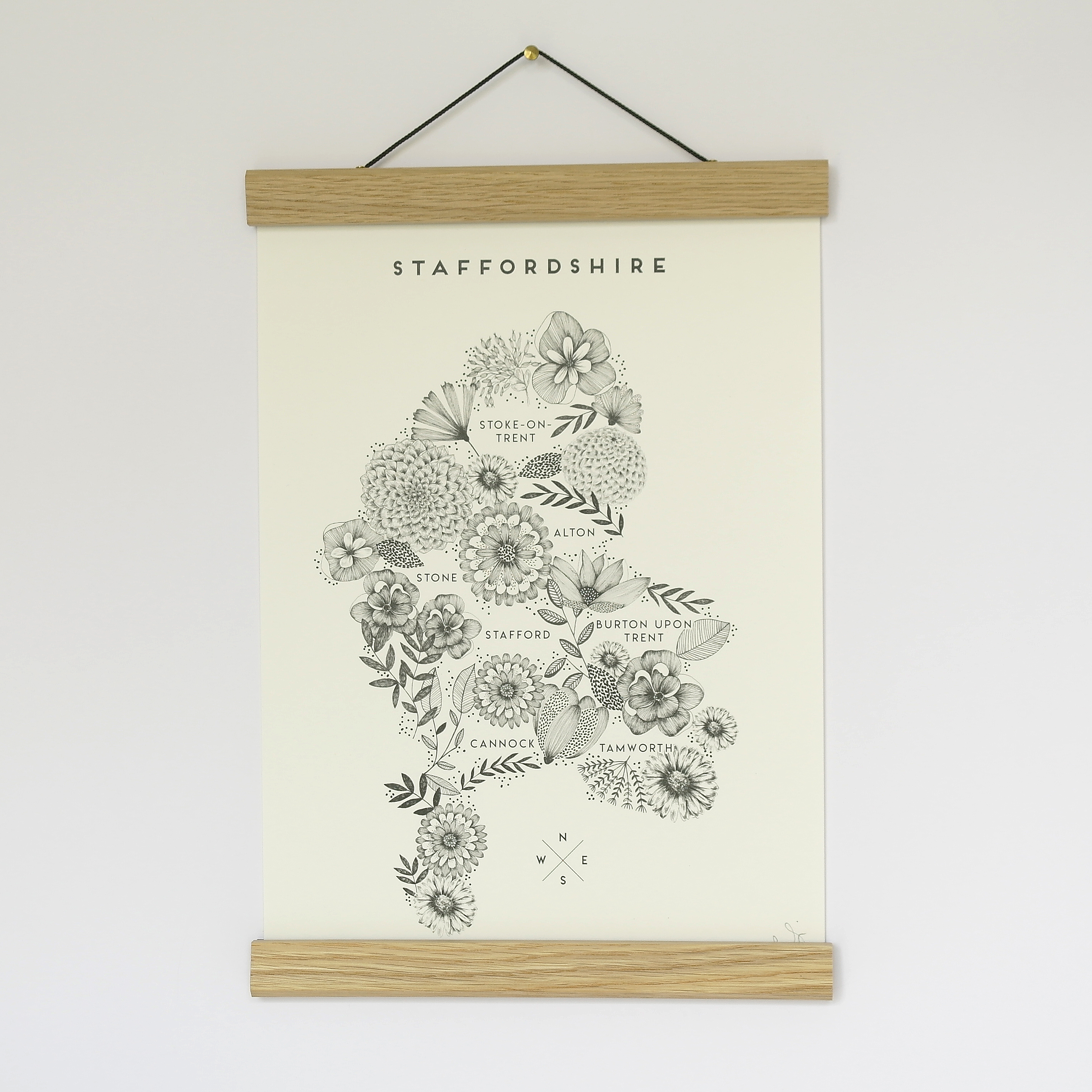 A4 Print Floral Map Staffordshire