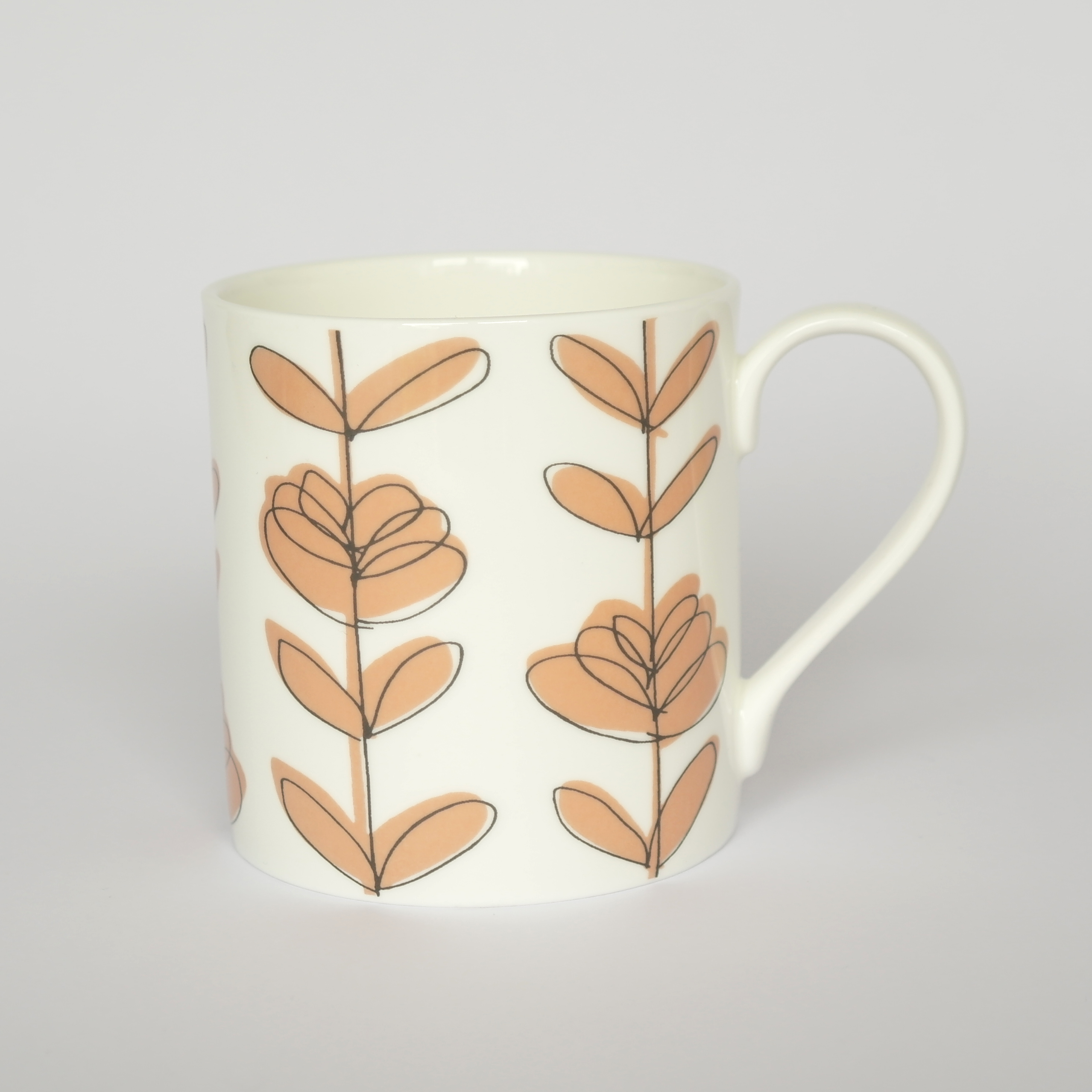 Heart Linear Closed Mug Boxed (English Fine Bone China) Available in 6 Colourways