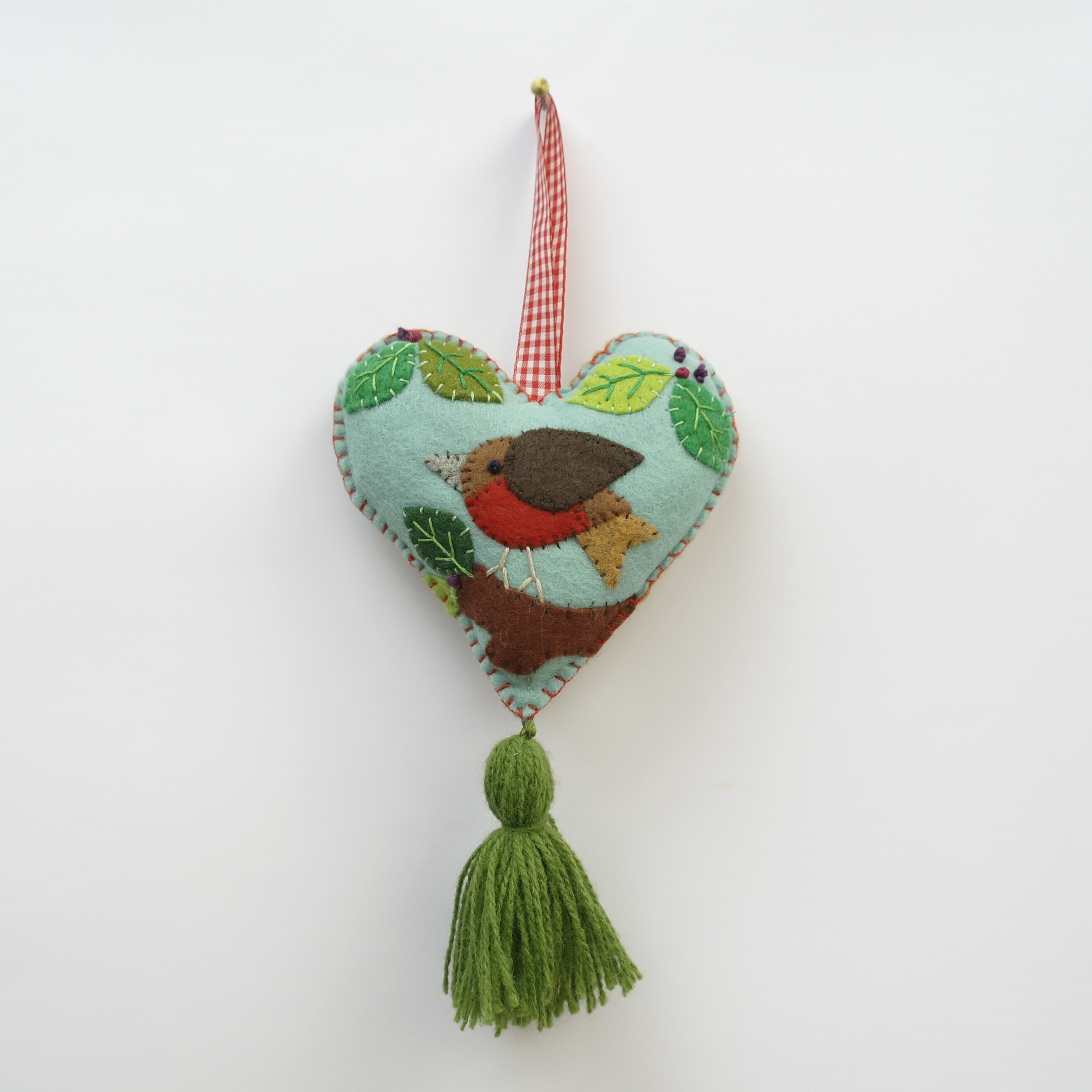 Hand-stitched Robin and Tassel Christmas Decoration