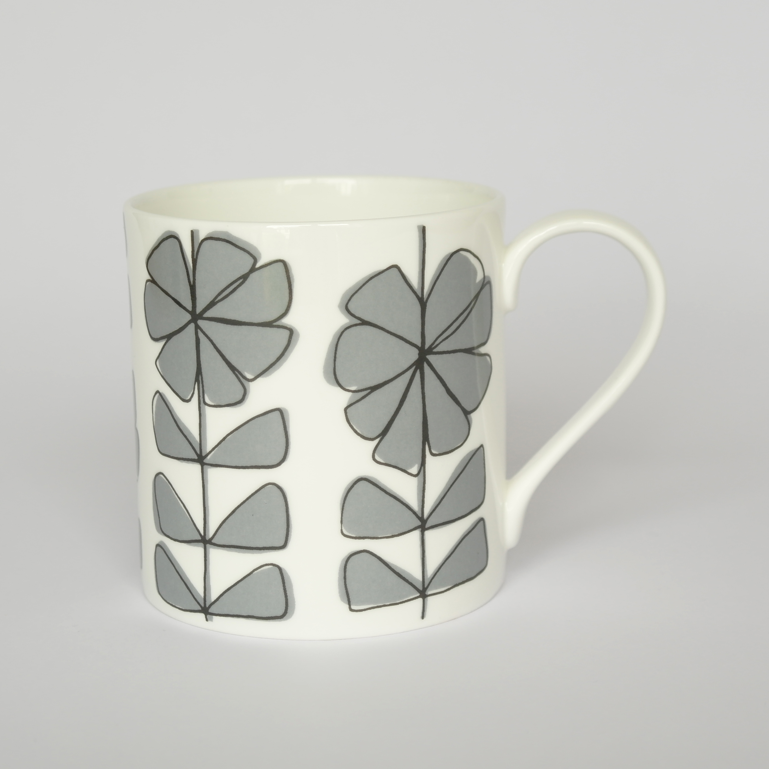 Floral Linear Closed Mug Boxed (English Fine Bone China) Available in 6 Colourways