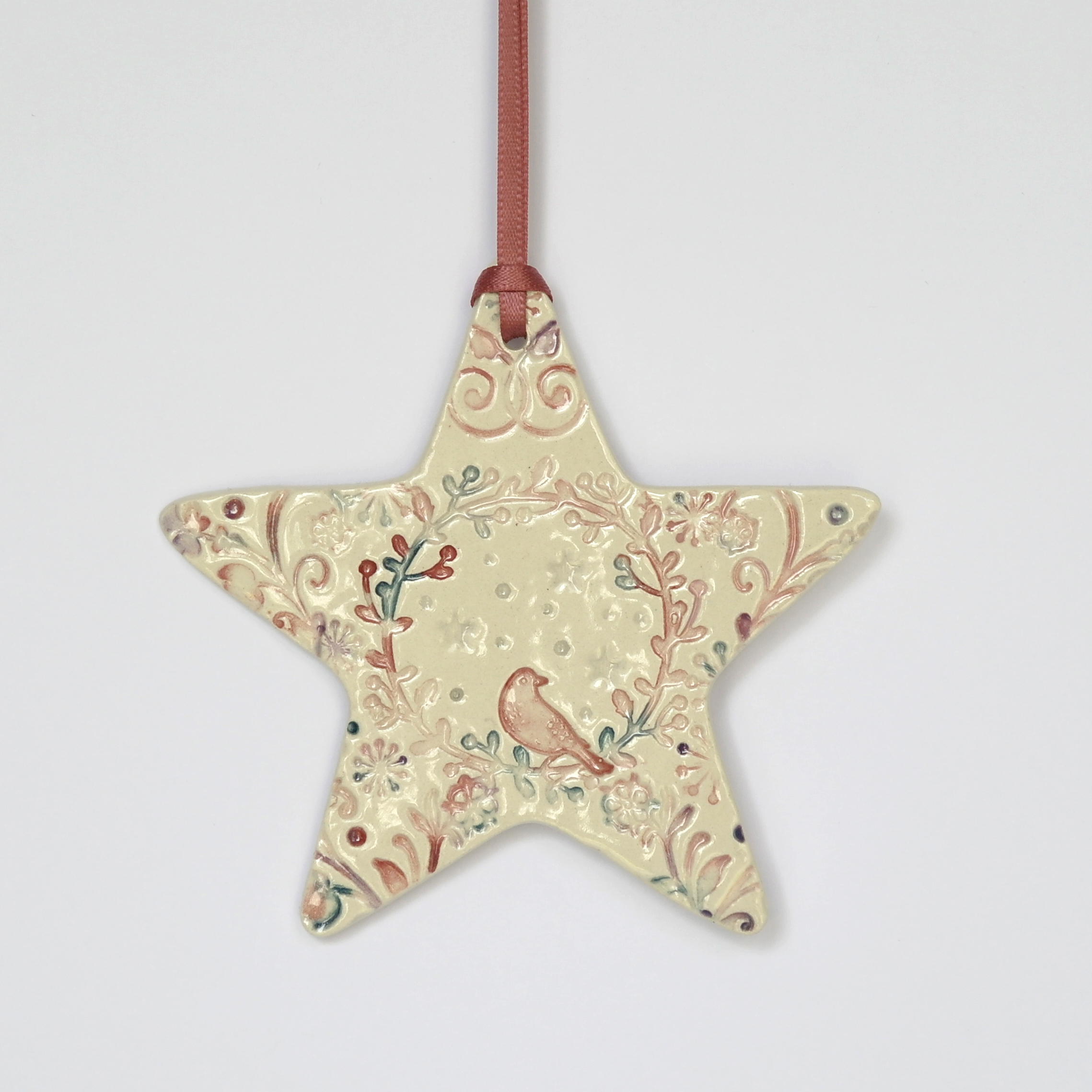Birdsong Decorative Ceramic Hanging Star