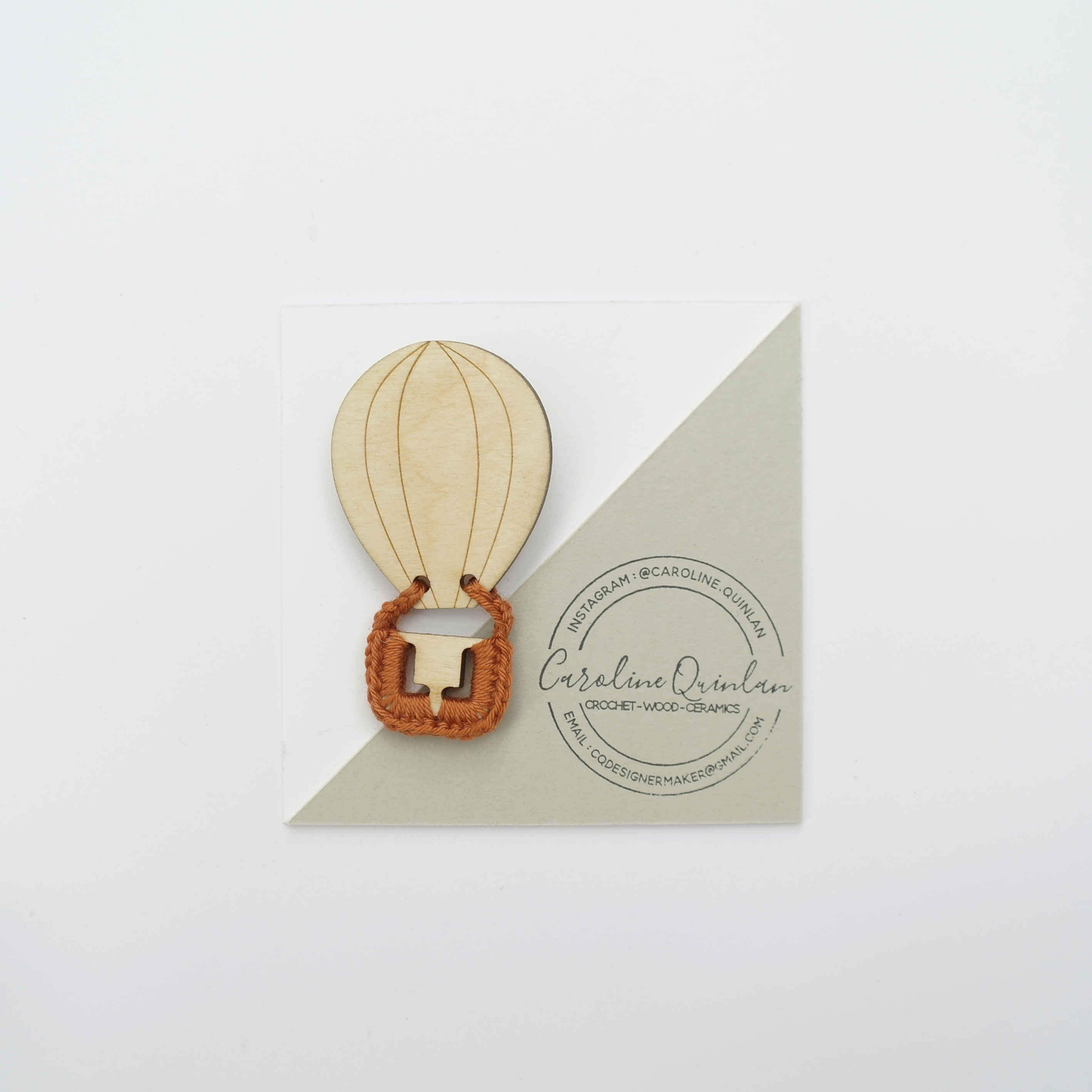 Hot Air Balloon Brooch - Wood with Crochet