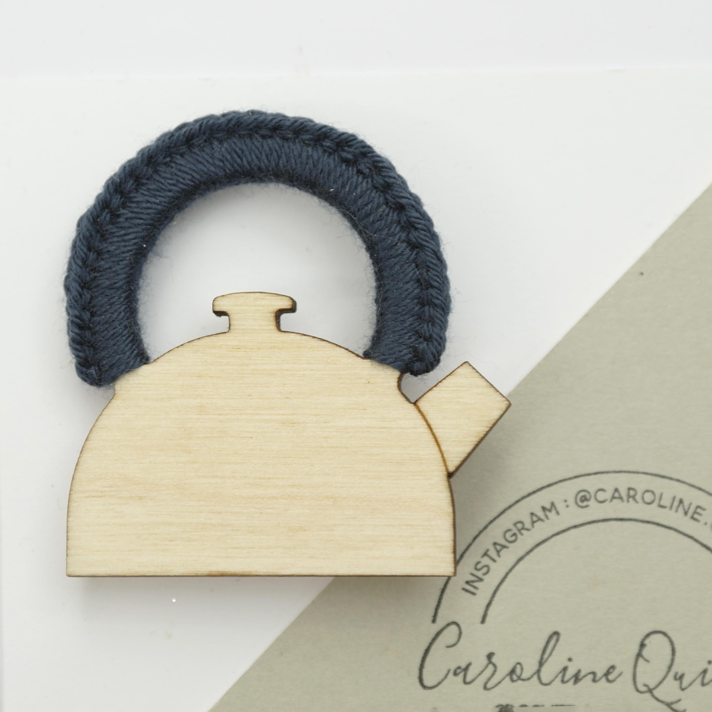 Kettle Brooch - Wood with Crochet